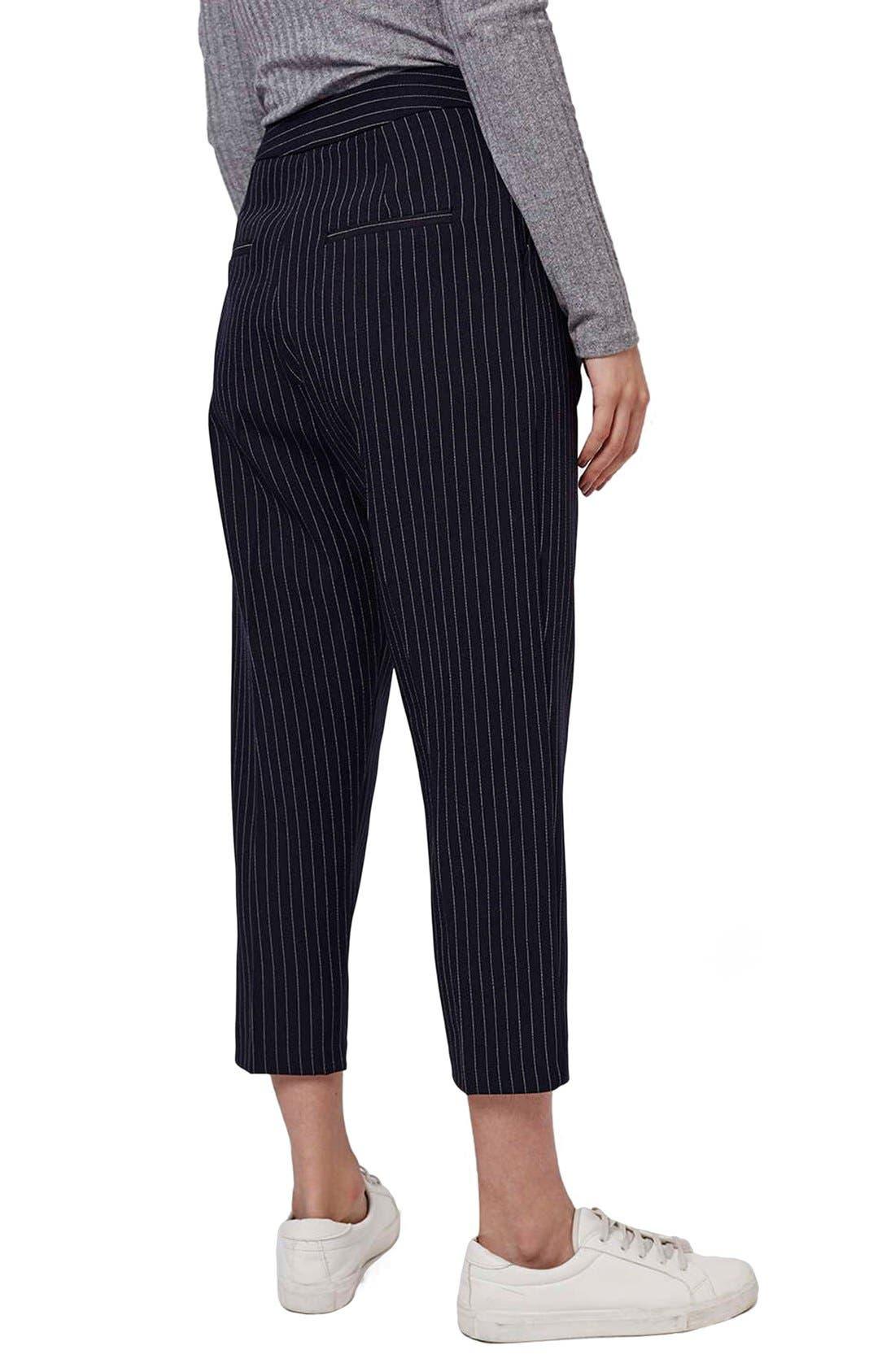 Alternate Image 2  - Topshop Pinstripe Crop Trousers (Petite)