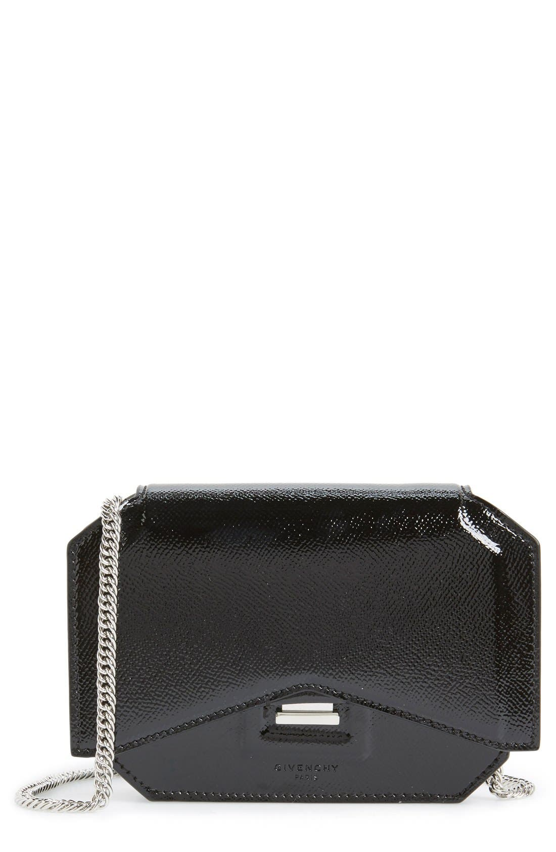 'Bow Cut' Patent Leather Wallet on a Chain,                             Main thumbnail 1, color,                             Black