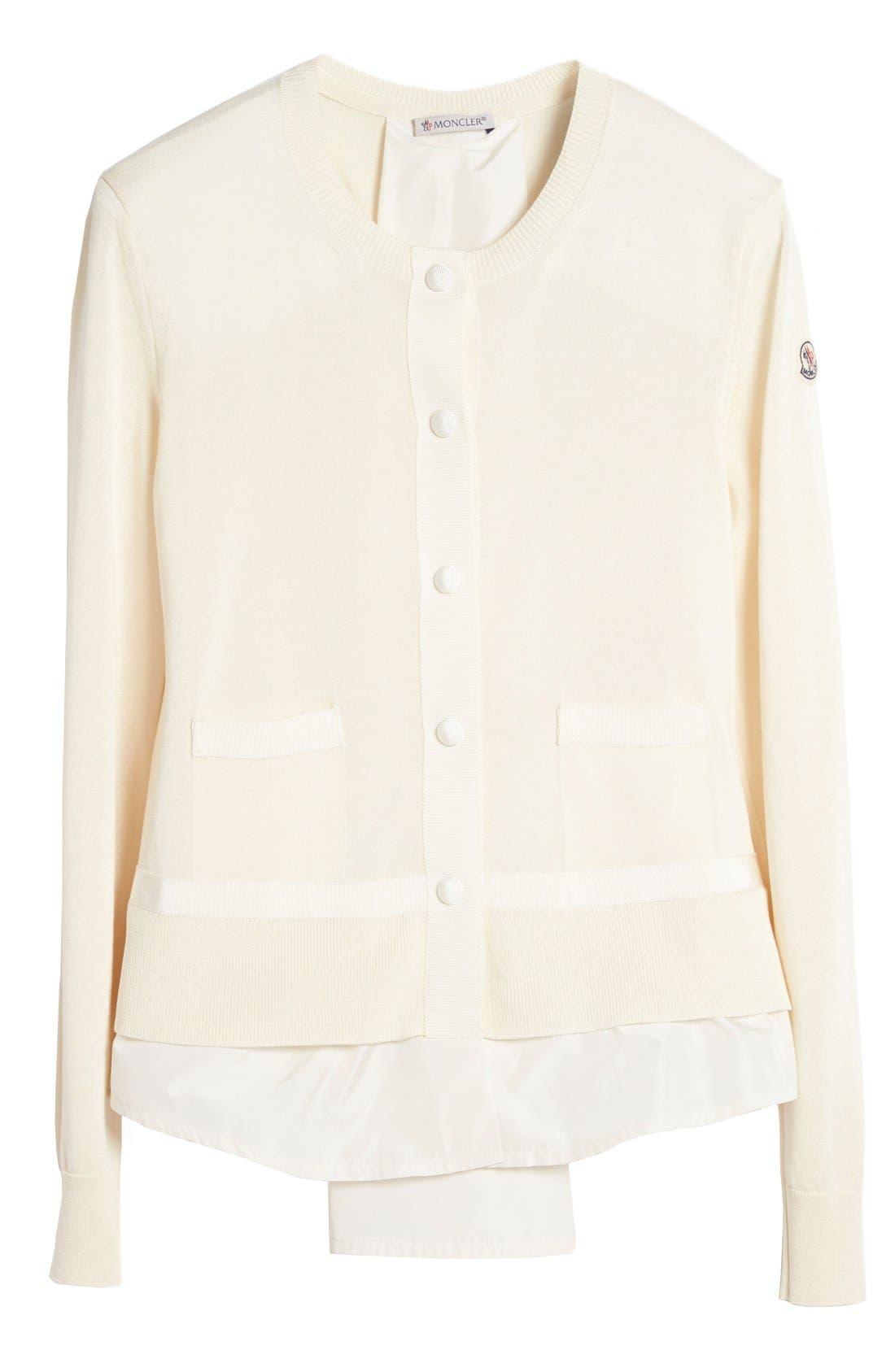 'Maglia' Tricot Button Cardigan,                             Alternate thumbnail 4, color,                             White