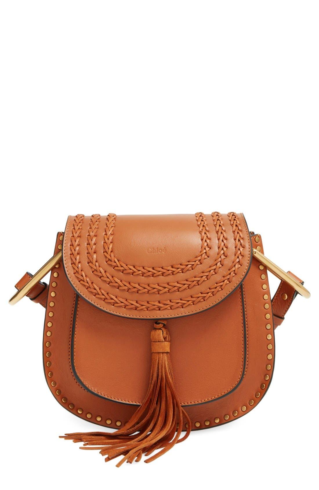 'Small Hudson' Studded Calfskin Leather Crossbody Bag,                             Main thumbnail 1, color,                             Caramel