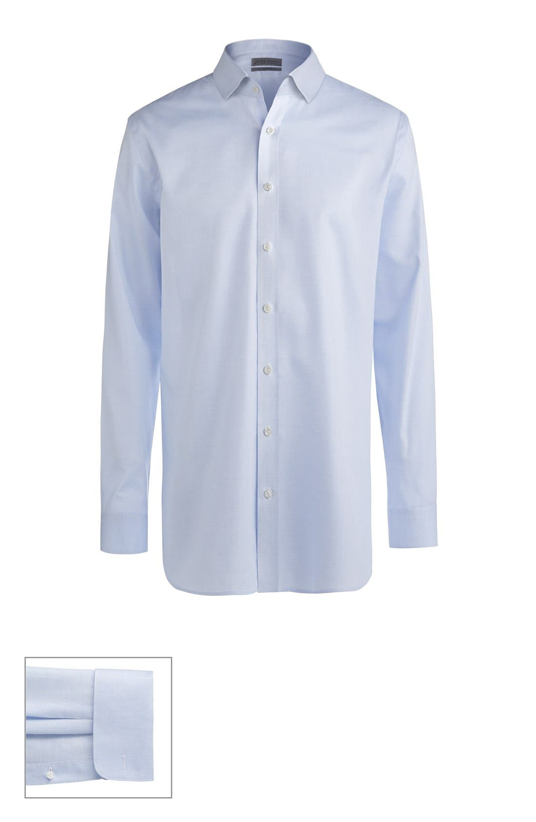 Made to Measure Extra Trim Fit Short Spread Collar Dobby Dress Shirt,                             Main thumbnail 1, color,                             Blue Micro Texture
