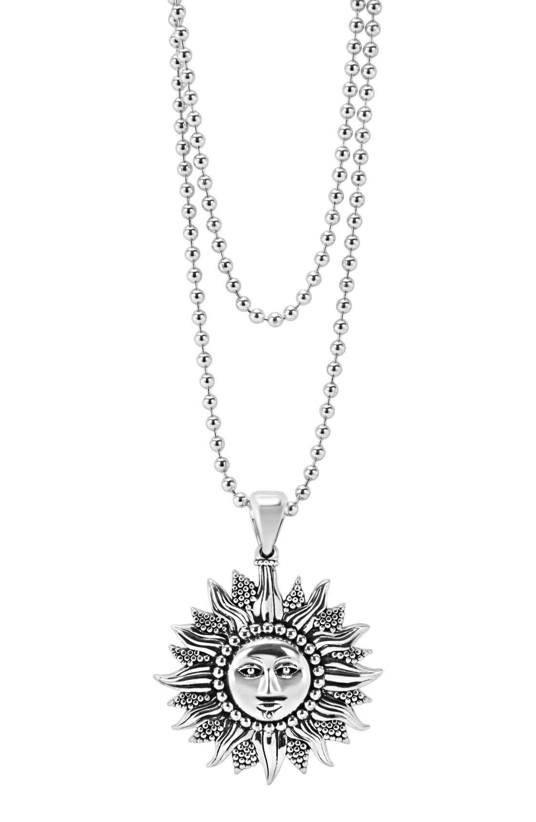 'Rare Celestial' Multistrand Pendant Necklace,                             Alternate thumbnail 4, color,                             Silver/ Sun