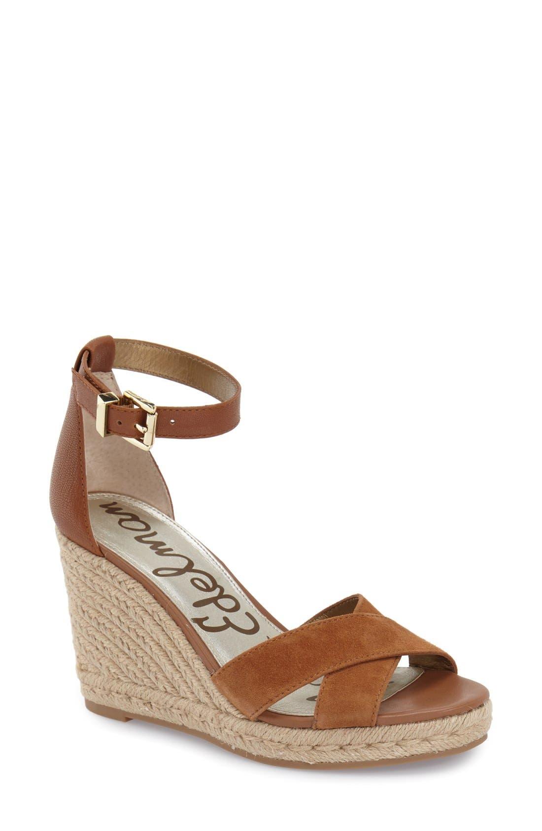 'Brenda' Espadrille Wedge Sandal,                             Main thumbnail 1, color,                             Saddle
