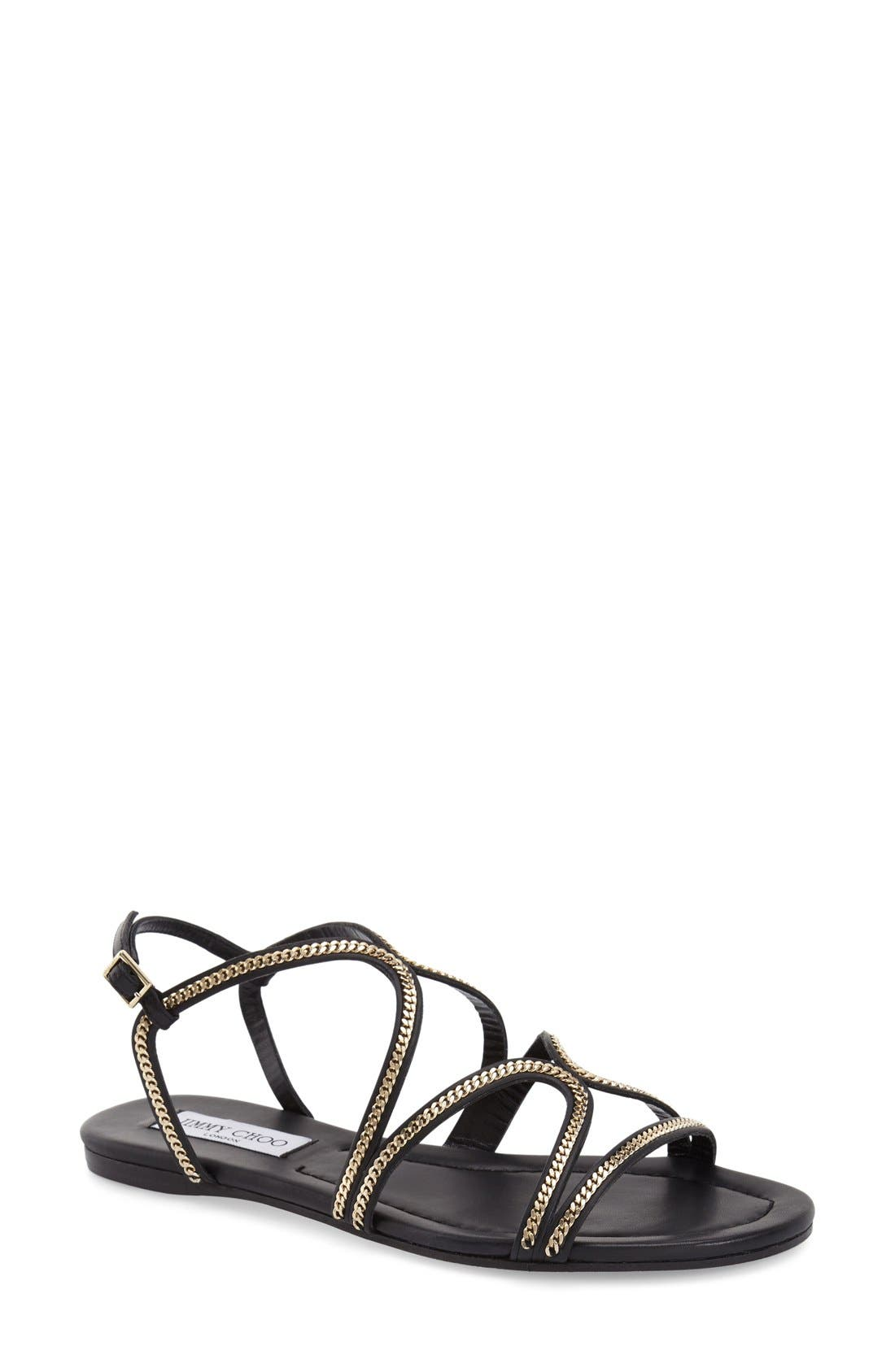 'Nickel' Sandal,                             Main thumbnail 1, color,                             Black Leather