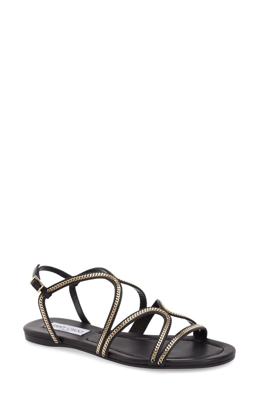 'Nickel' Sandal,                         Main,                         color, Black Leather