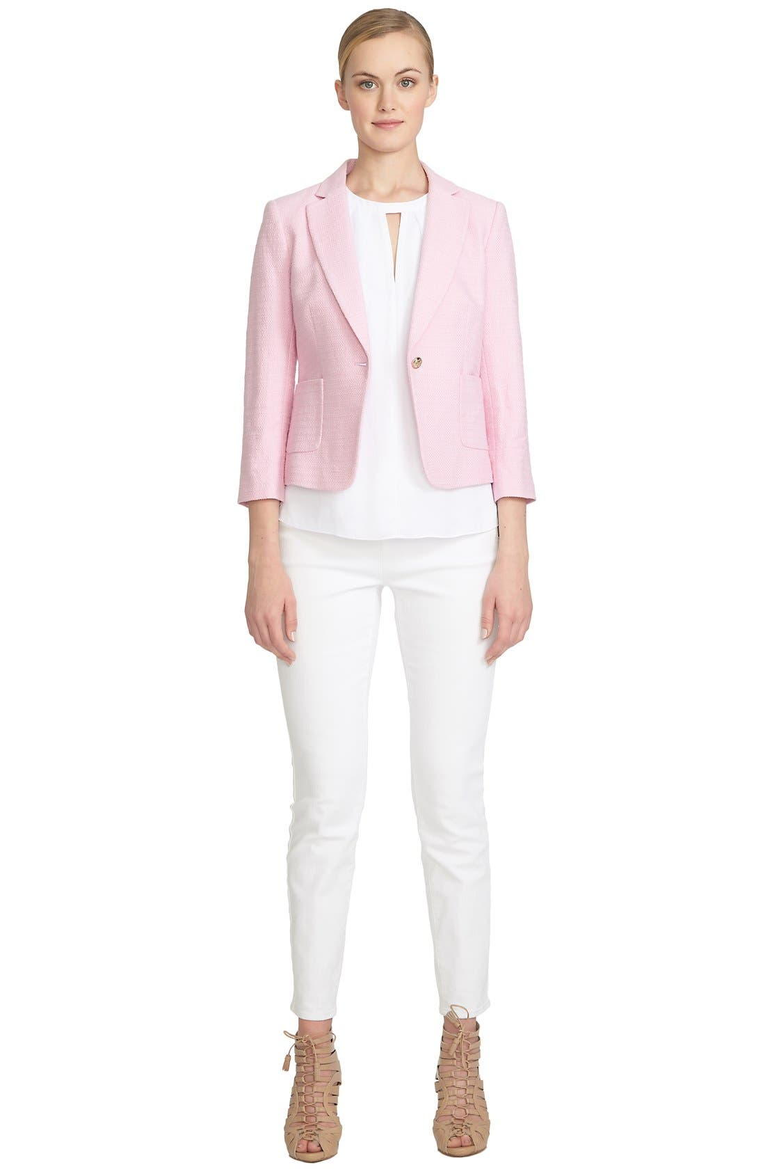 Alternate Image 2  - CeCe by Cynthia Steffe Basket Weave One-Button Blazer
