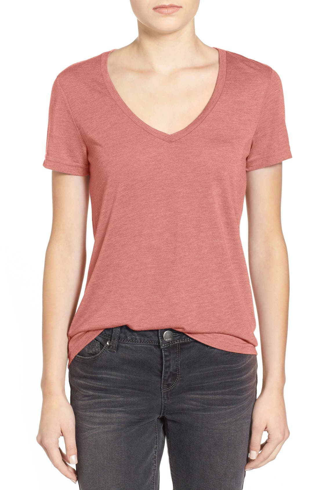 V-Neck Tee,                         Main,                         color, Rust Marsala