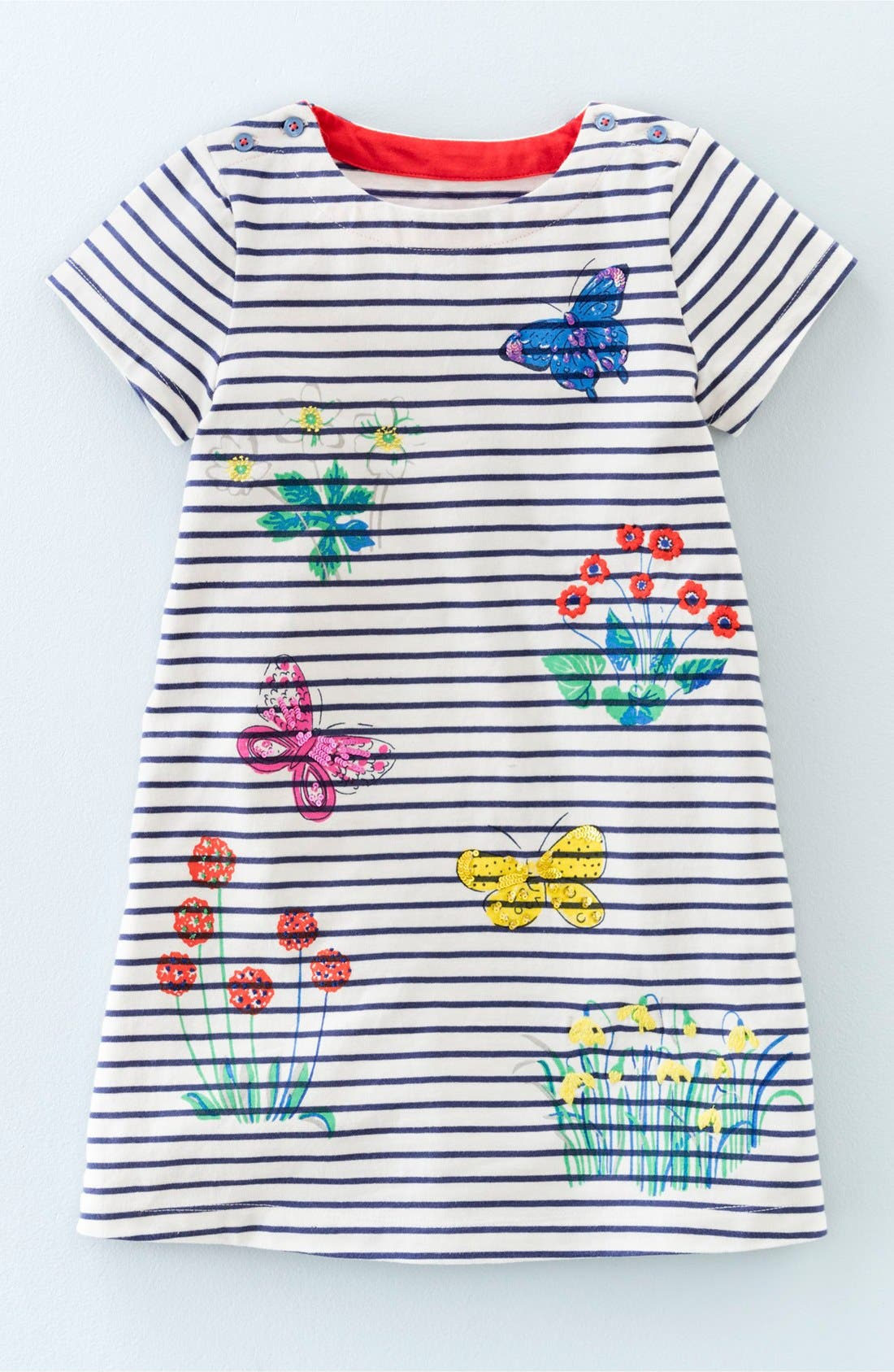 Alternate Image 1 Selected - Mini Boden 'Sparkling' Stripe Jersey Dress (Toddler Girls, Little Girls & Big Girls)