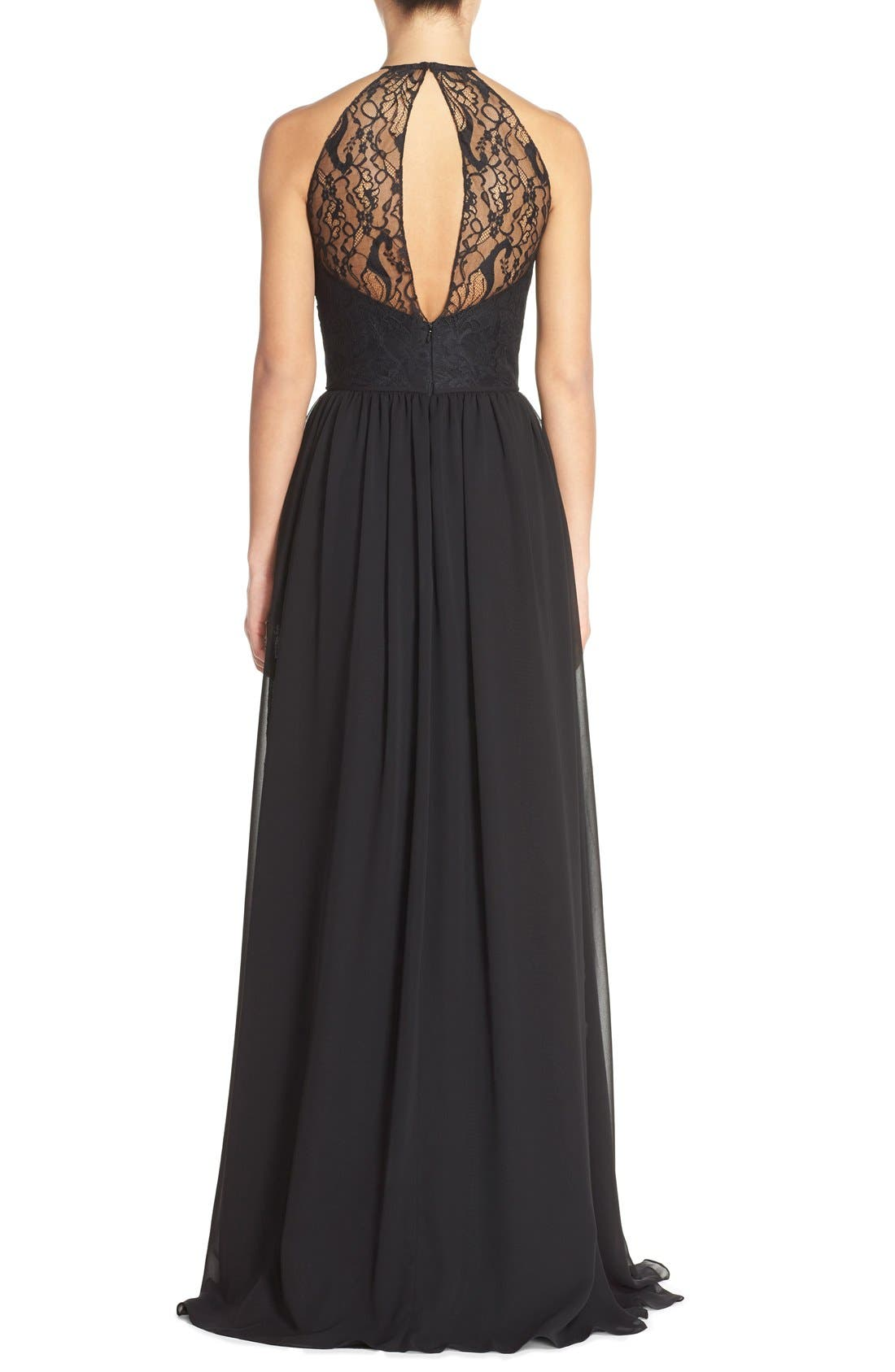 Alternate Image 2  - Hayley Paige Occasions Lace & Chiffon Halter Gown