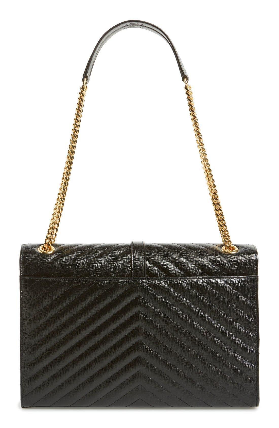 'Large Monogram' Grained Leather Shoulder Bag,                             Alternate thumbnail 3, color,                             Nero/ Gold Hdwr