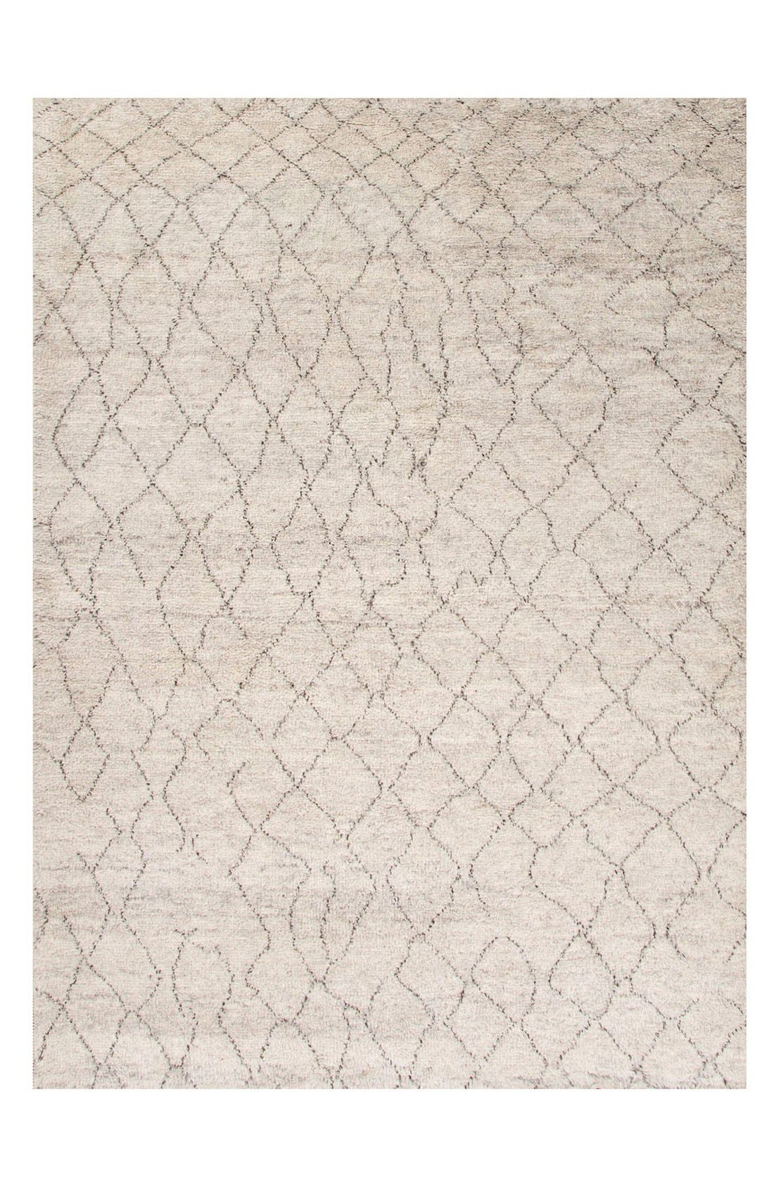 'Zola Irregular Lines' Wool Rug,                             Main thumbnail 1, color,                             Ivory/ Brown