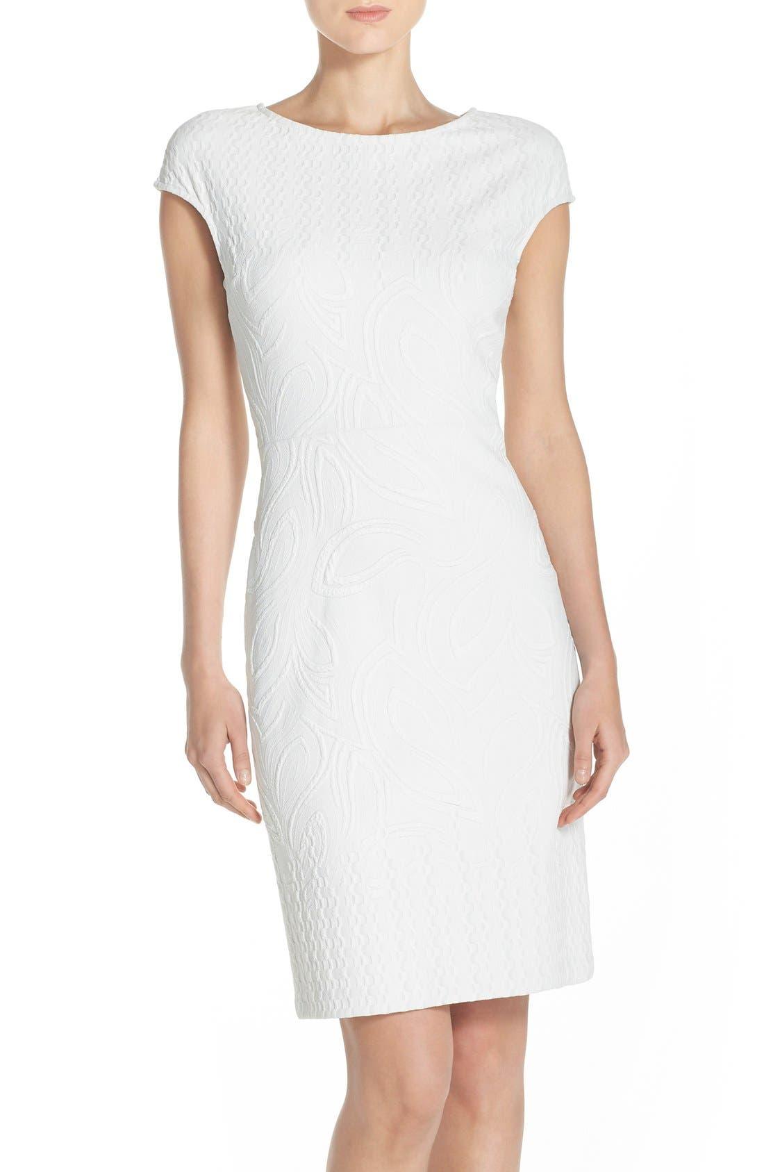 Jacquard Sheath Dress,                             Main thumbnail 1, color,                             Ivory