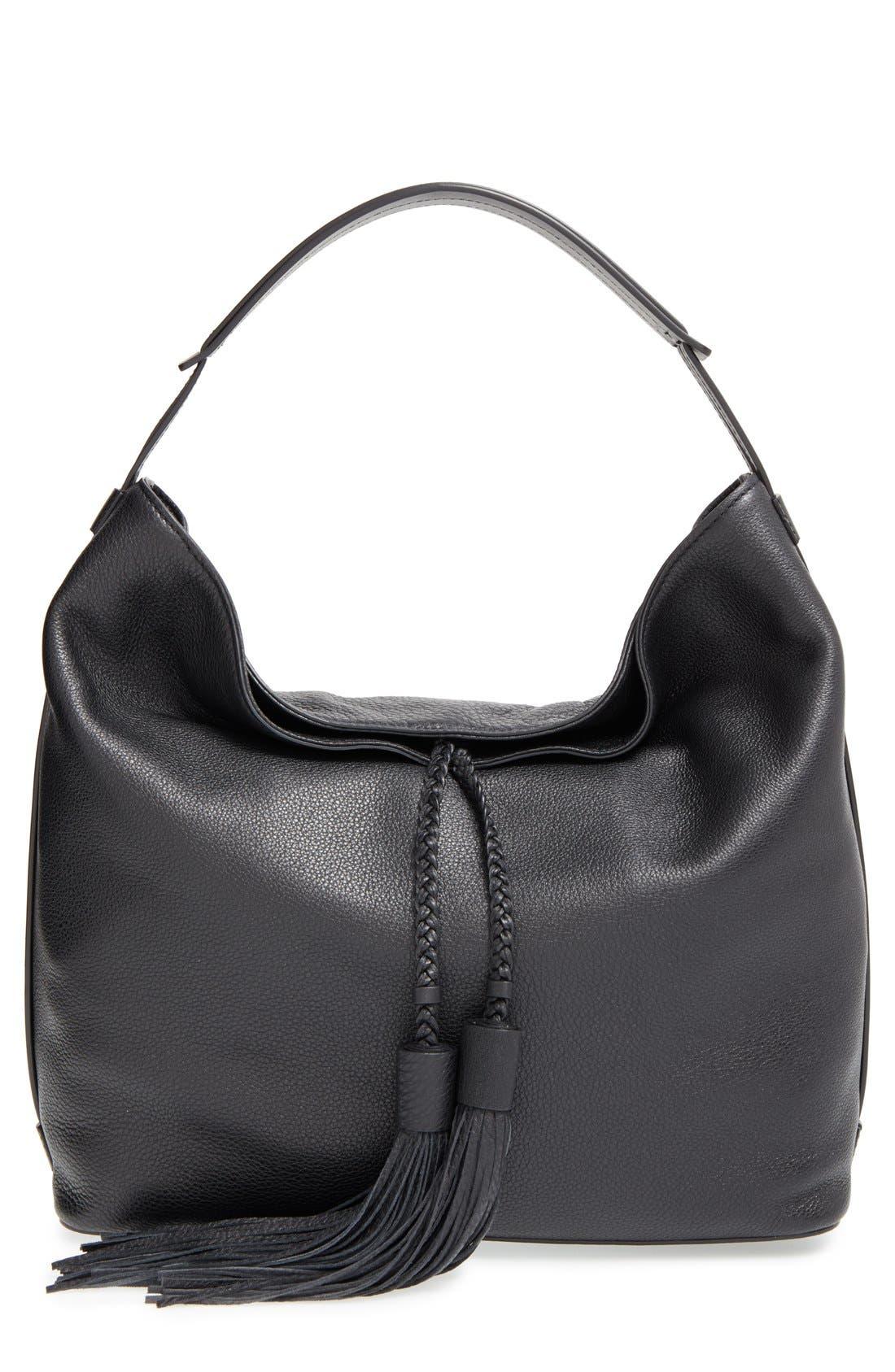 'Isobel' Tassel Leather Hobo,                         Main,                         color, Black/ Light Gold Hrdwr