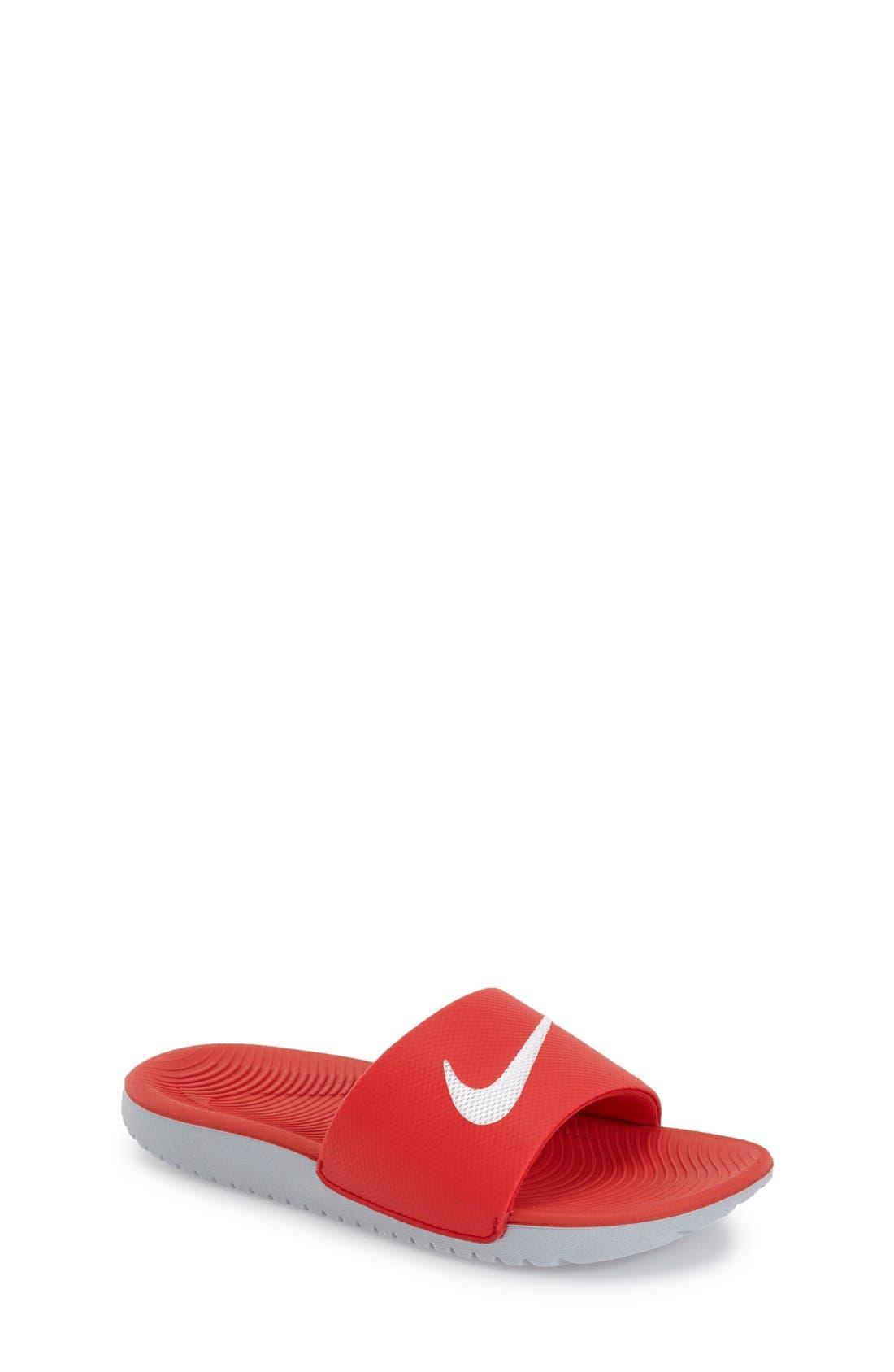 'Kawa' Slide Sandal,                             Main thumbnail 1, color,                             University Red/ White
