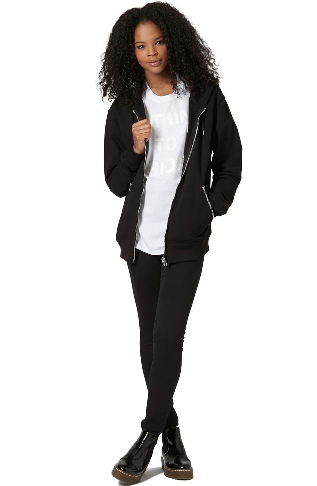 Moto 'Jamie' High Rise Skinny Jeans,                             Alternate thumbnail 2, color,                             Black