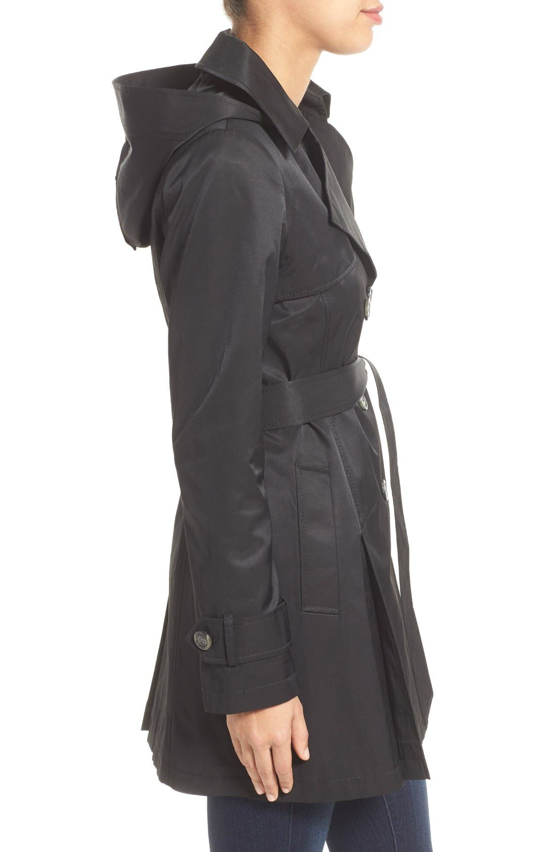 Detachable Hood Trench Coat,                             Alternate thumbnail 3, color,                             Black