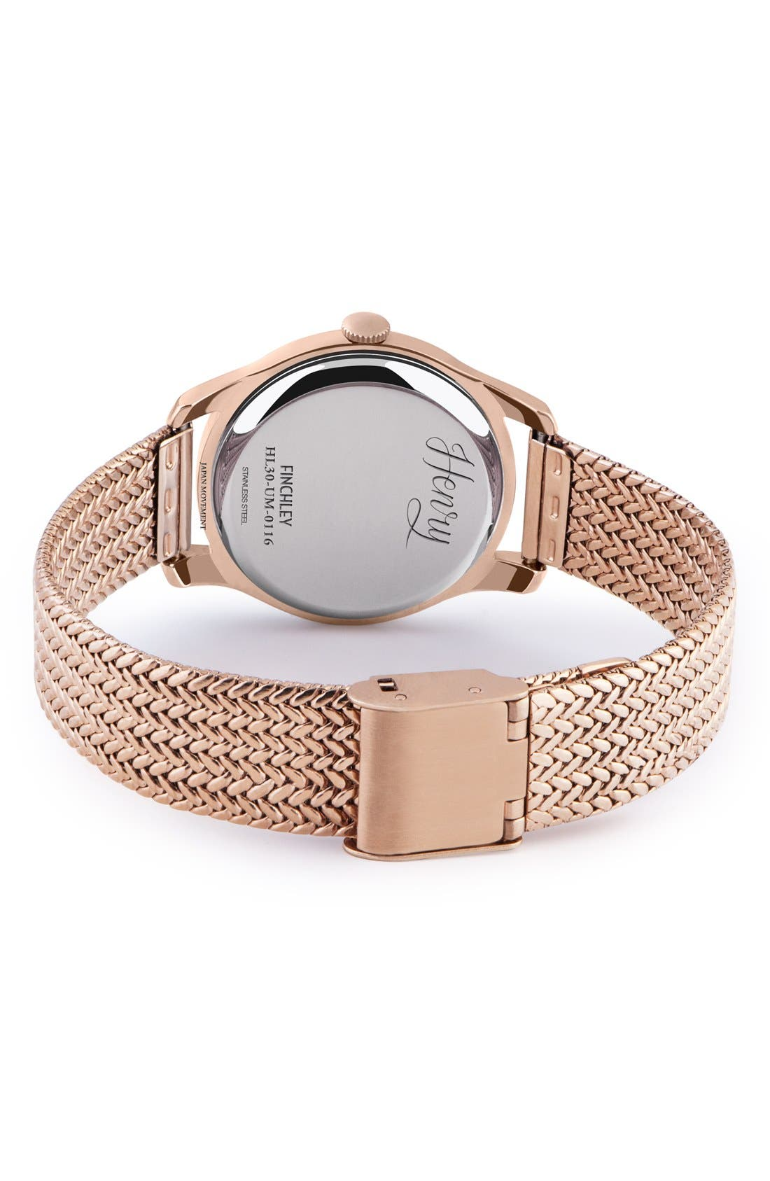 'Finchley' Round Mesh Strap Watch, 30mm,                             Alternate thumbnail 2, color,                             Rose Gold/ Slate Grey