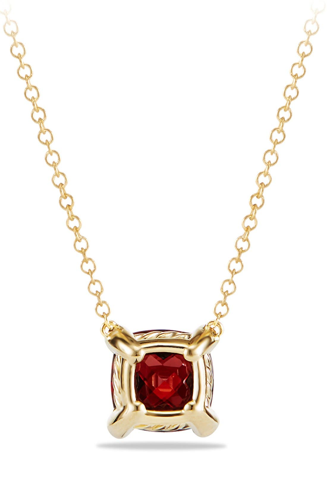 'Châtelaine' Pendant Necklace with Semiprecious Stone and Diamonds in 18K Gold,                             Alternate thumbnail 3, color,                             Garnet