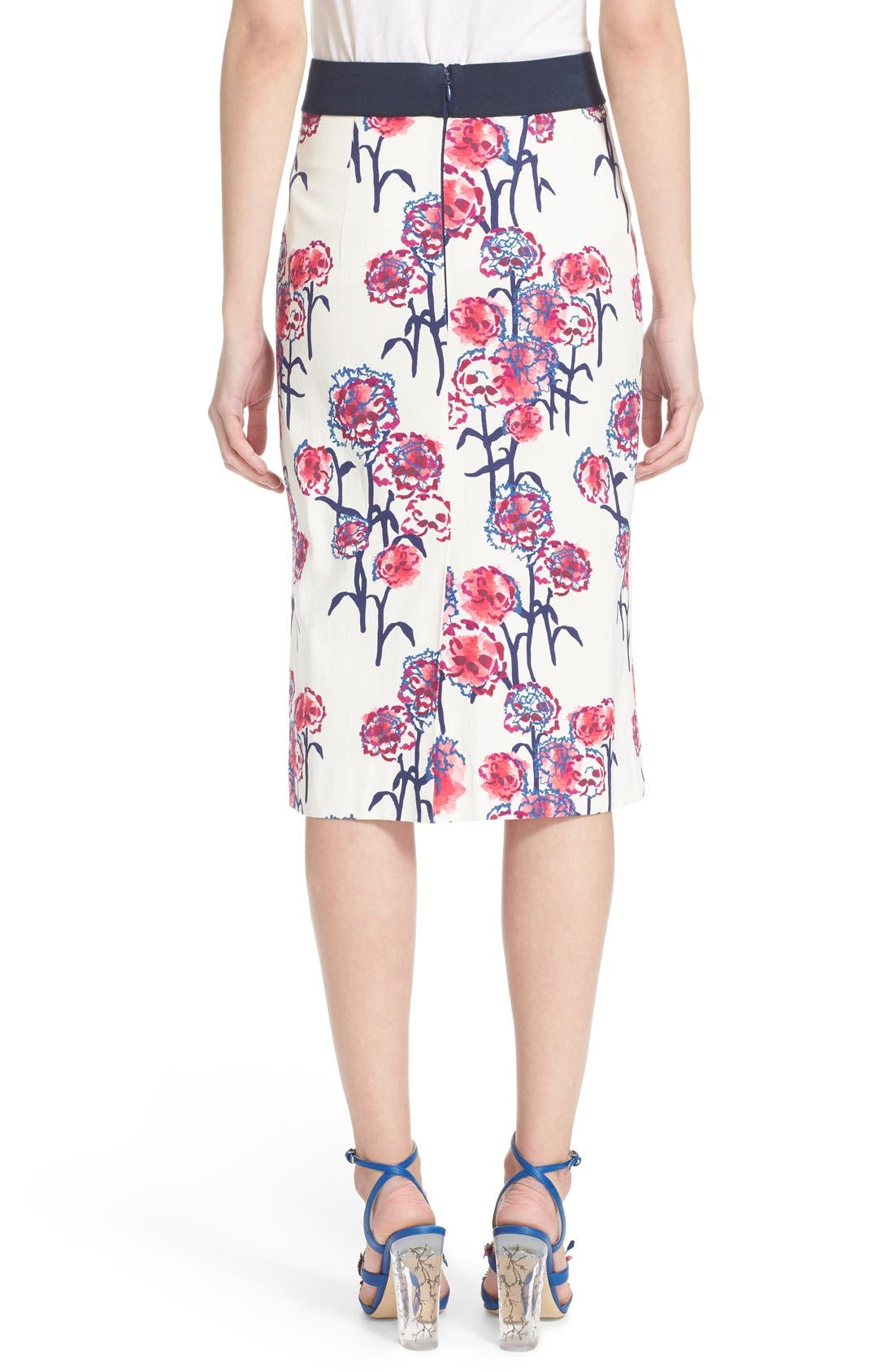 Alternate Image 2  - Tanya Taylor Textured Garden Print Pencil Skirt