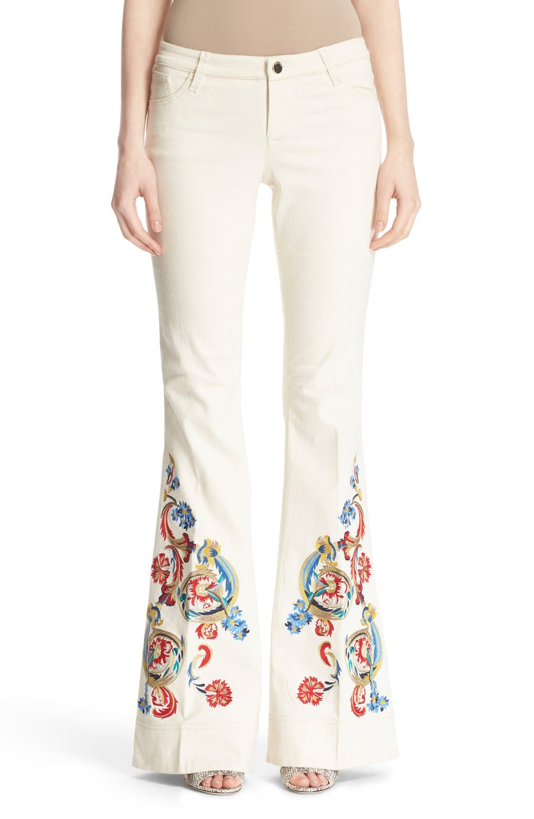 'Ryley' Embroidered Flare Jeans,                             Main thumbnail 1, color,                             Natural/ Multi