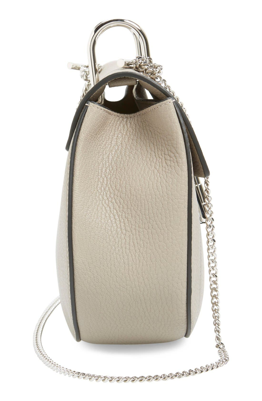 'Small Drew' Leather Shoulder Bag,                             Alternate thumbnail 5, color,                             Motty Grey
