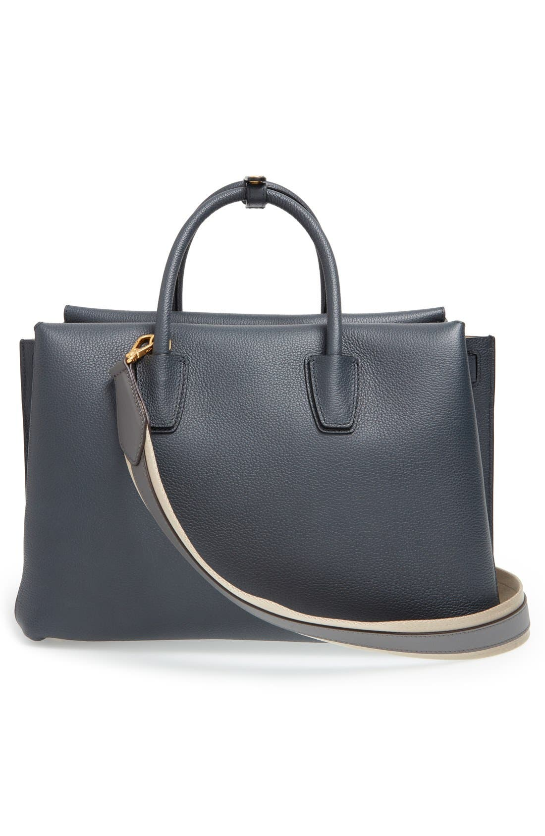 'Large Milla' Leather Tote,                             Alternate thumbnail 3, color,                             Phantom Grey
