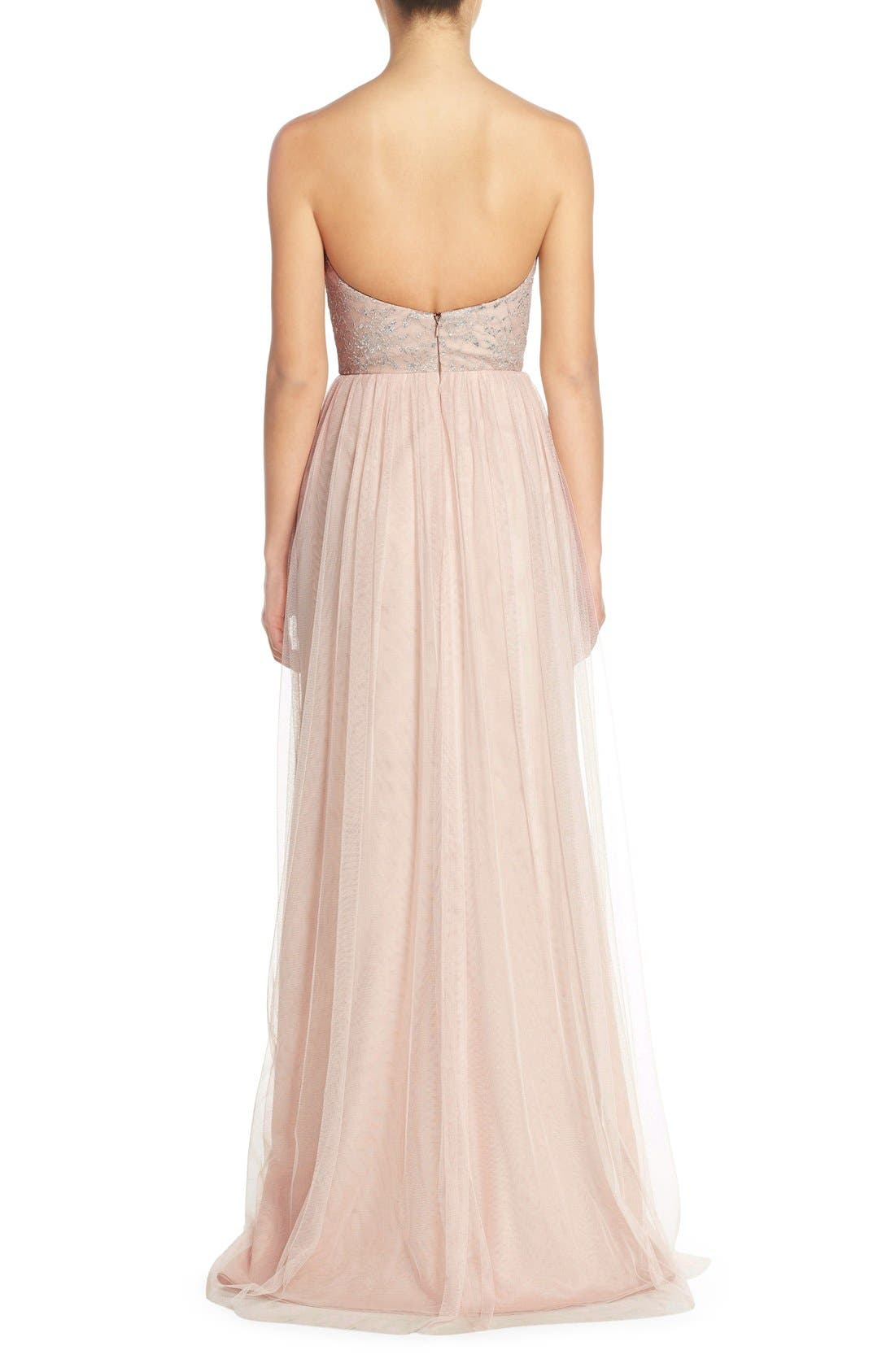 Alternate Image 2  - Hayley Paige Occasions Strapless Metallic Lace & Net Gown