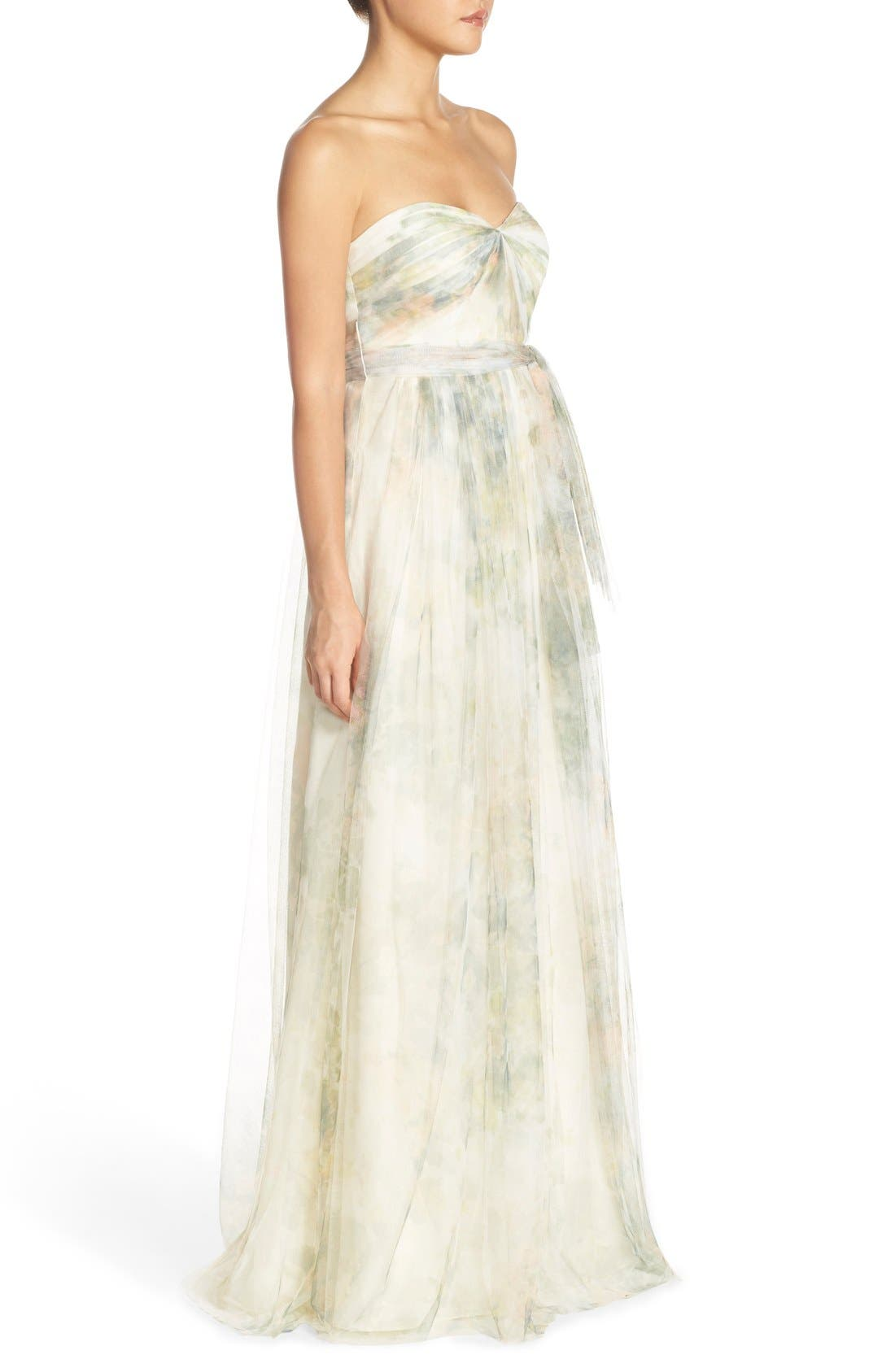 Annabelle Print Tulle Convertible Column Gown,                             Alternate thumbnail 4, color,                             Ivory Sage Rose