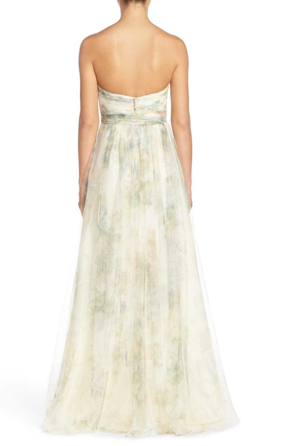 Annabelle Print Tulle Convertible Column Gown,                             Alternate thumbnail 3, color,                             Ivory Sage Rose