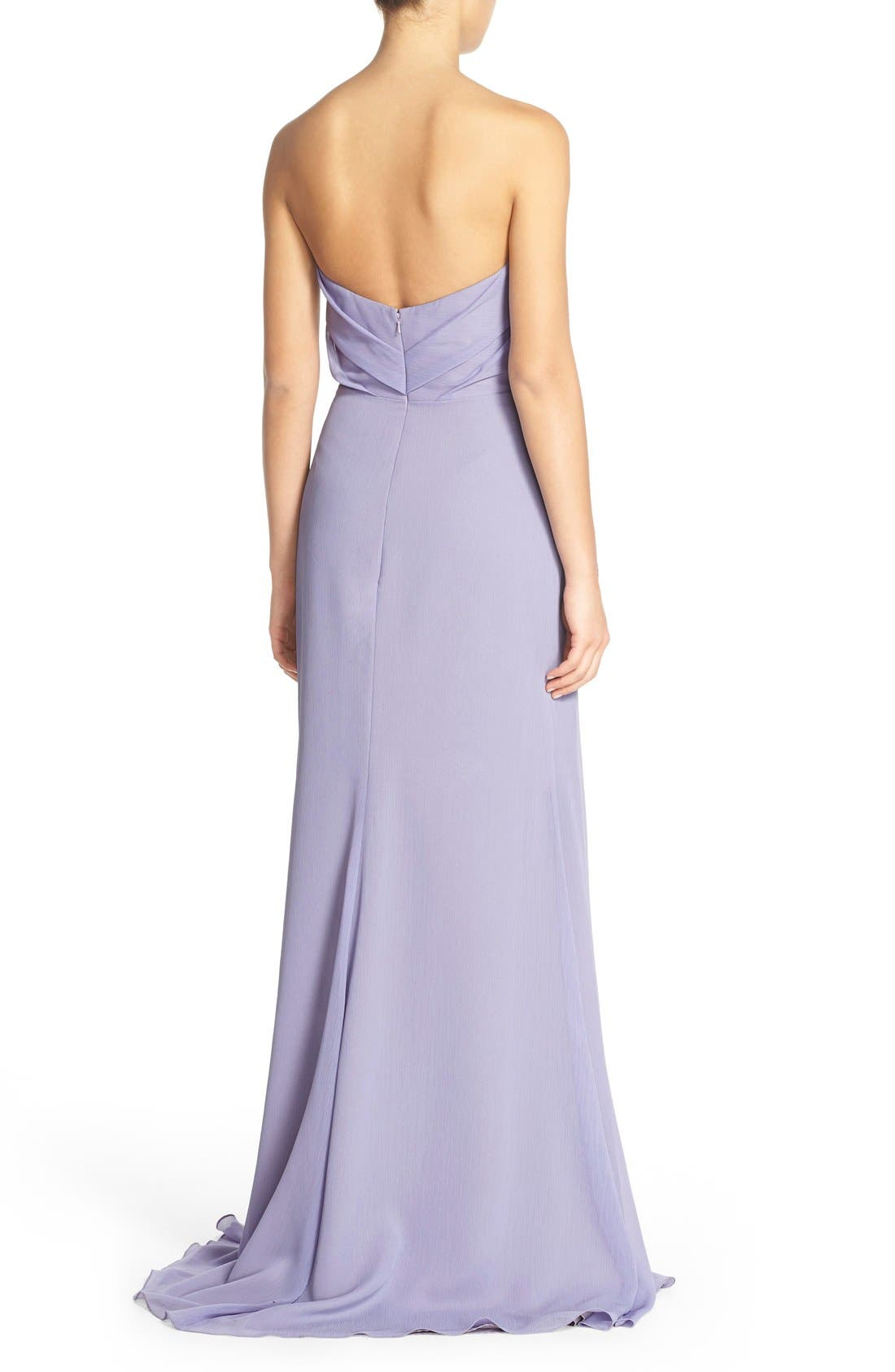 Alternate Image 2  - Hayley Paige Occasions Strapless Crinkle Chiffon A-Line Gown