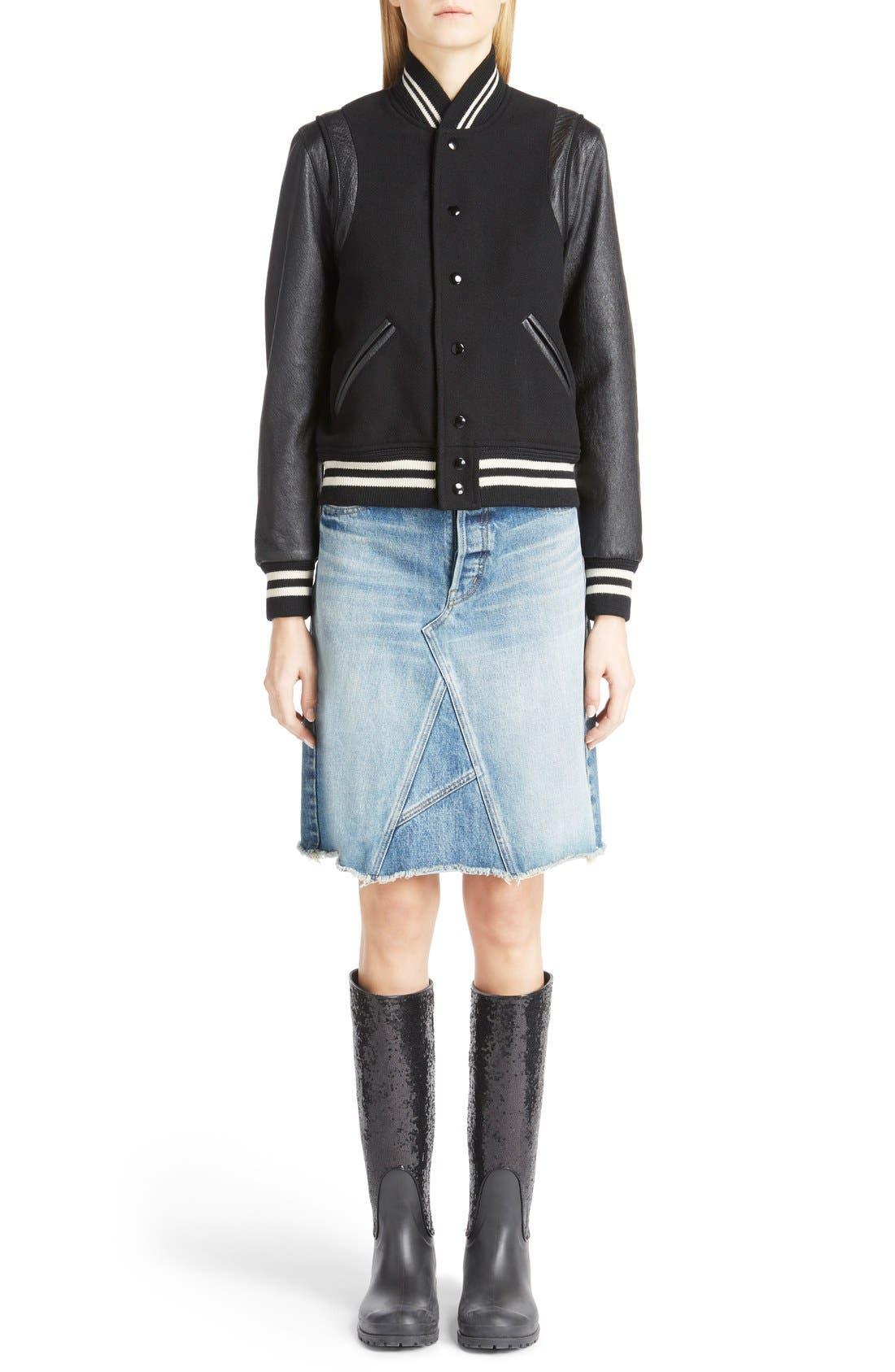 Main Image - Saint Laurent 'Teddy' Full Leather Sleeve Bomber Jacket