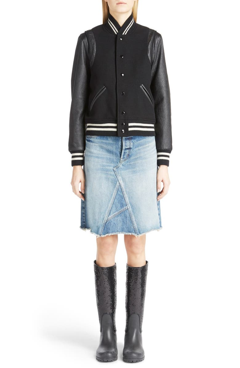 Teddy Full Leather Sleeve Bomber Jacket