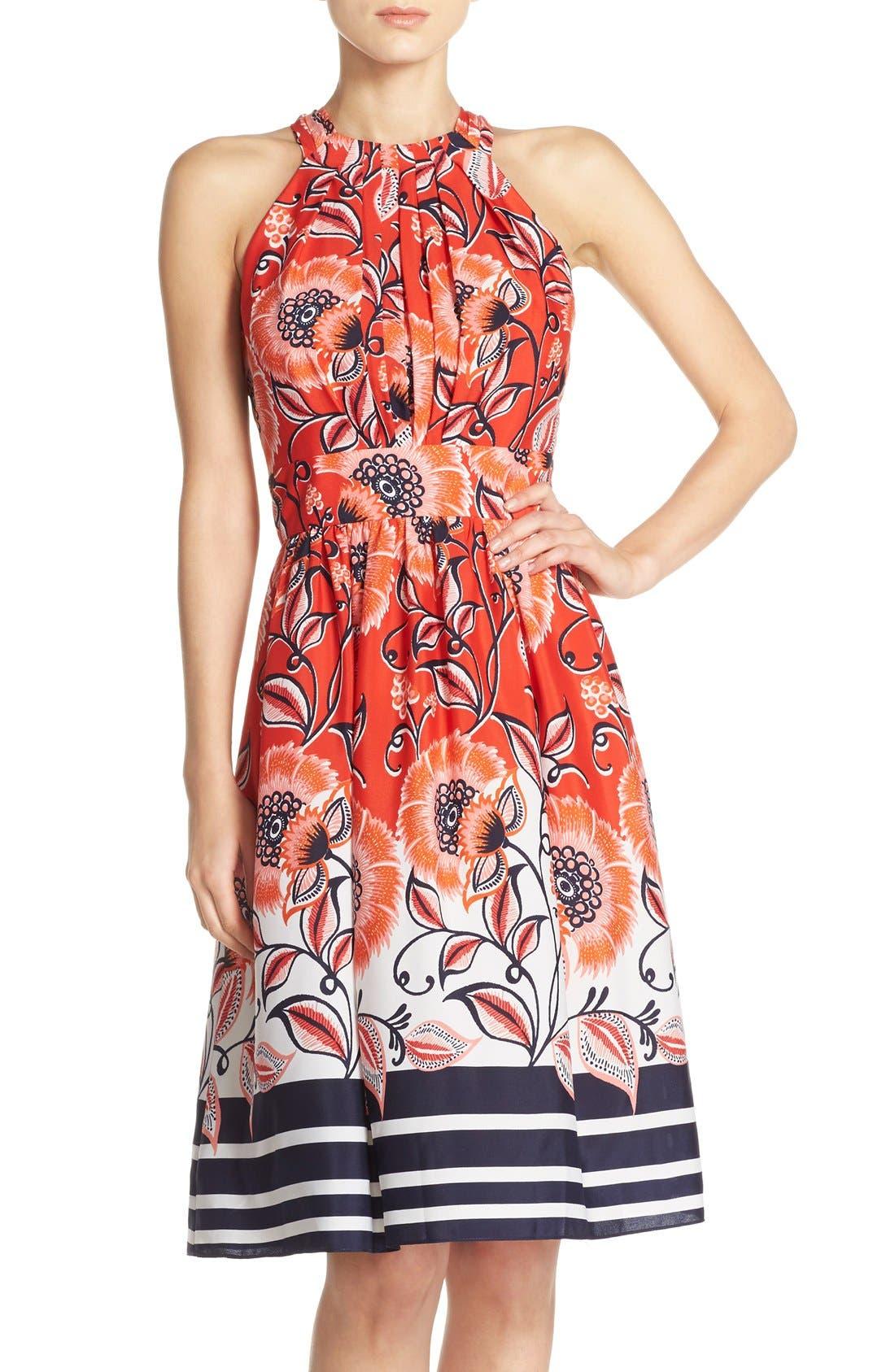 Main Image - Eliza J Mixed Print Crêpe de Chine Fit & Flare Dress