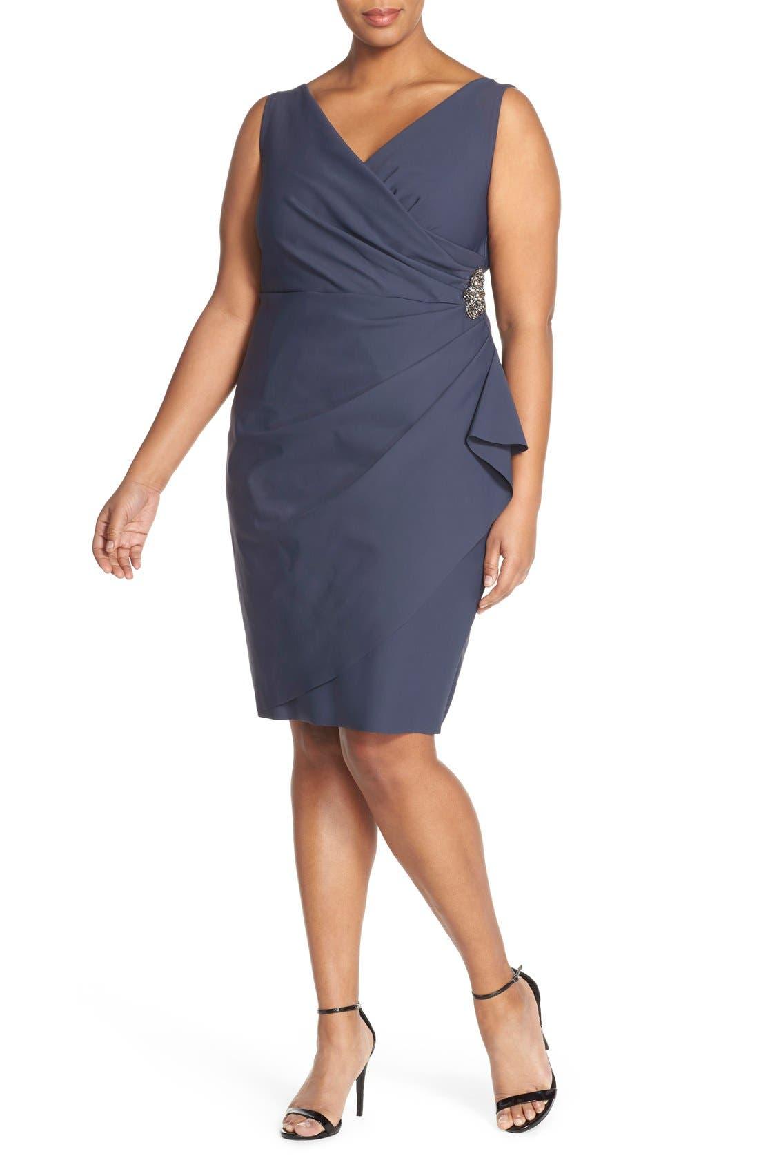 Main Image - Alex Evenings Embellished Surplice Sheath Dress (Plus Size)