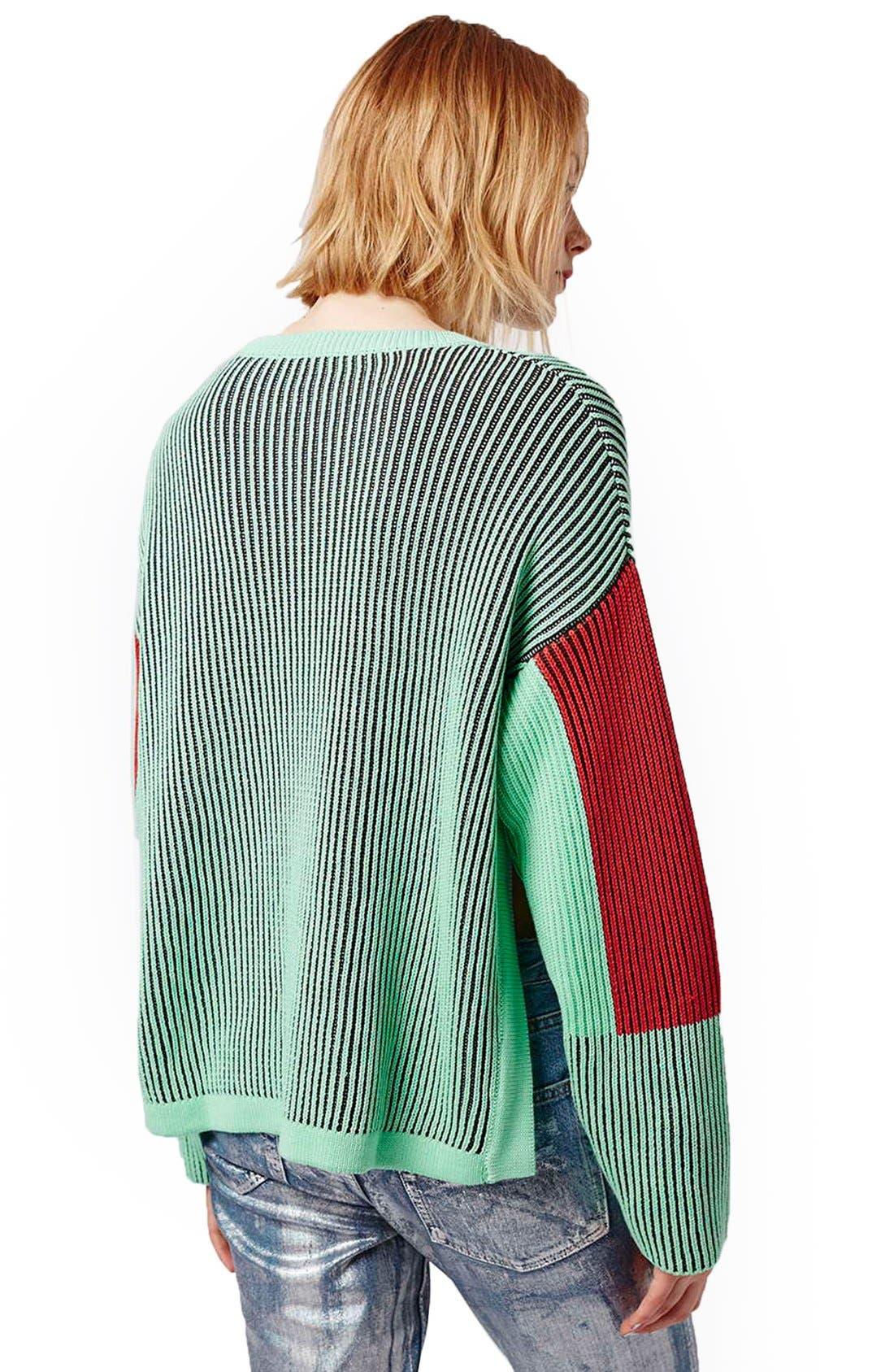 Alternate Image 3  - Topshop Colorblock Crewneck Sweater