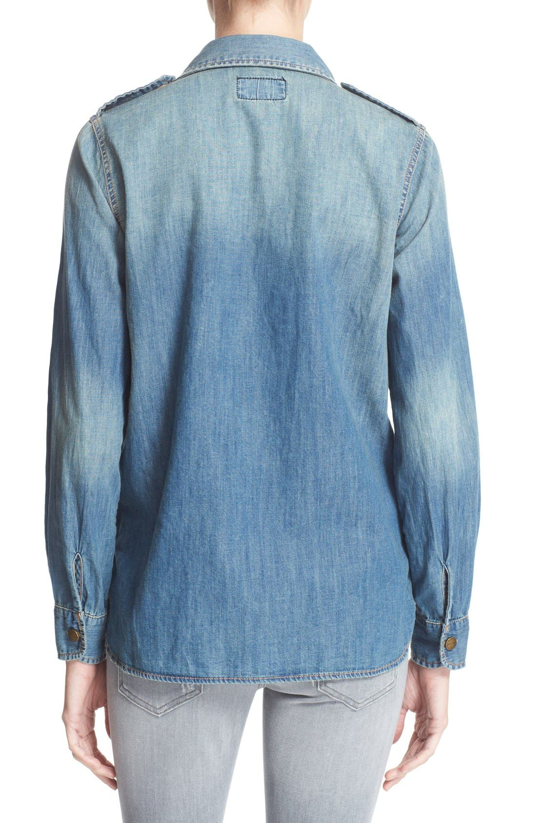 'The Perfect' Button Front Denim Shirt,                             Alternate thumbnail 2, color,                             Miner