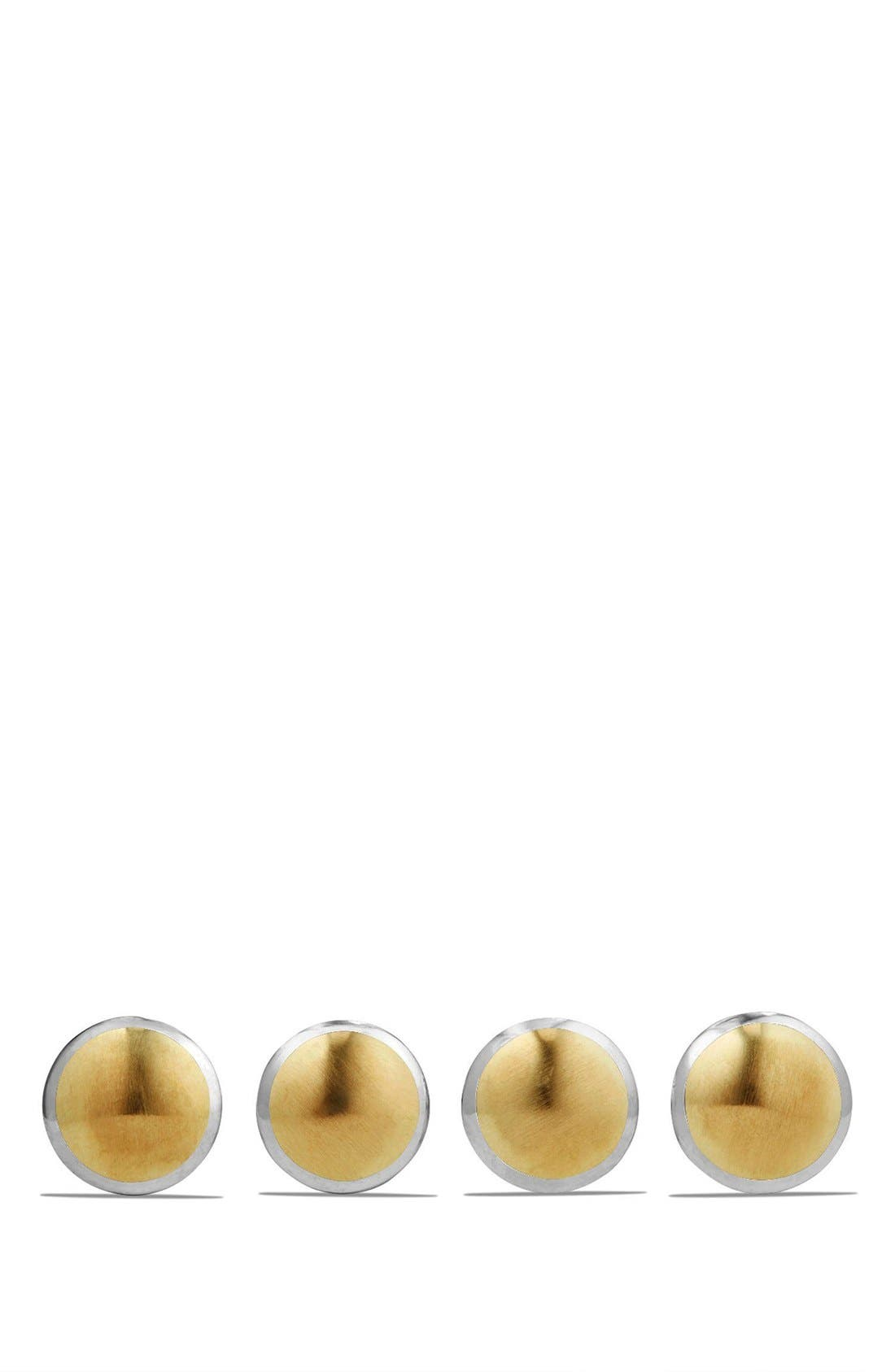 Streamline Set of 4 Shirt Studs with 18K Gold,                         Main,                         color, Silver/ Gold