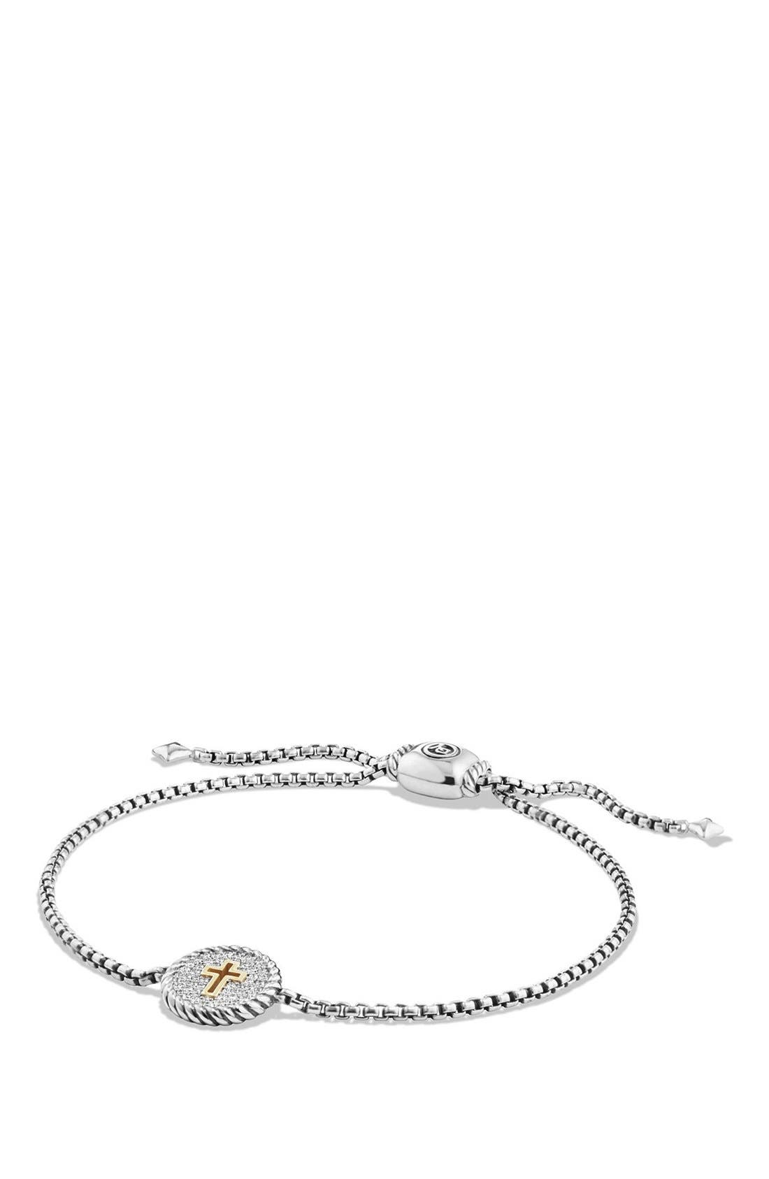 'Cable Collectibles' Cross Charm Bracelet with Diamonds,                         Main,                         color, Silver/ Gold