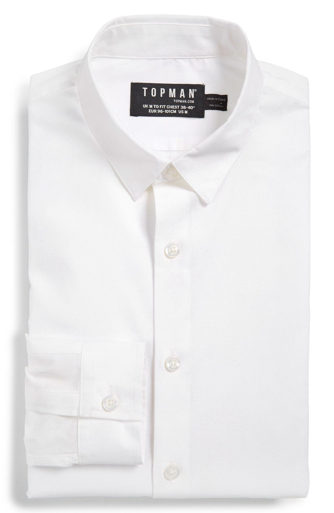 Alternate Image 1 Selected - Topman Slim Fit Textured Cotton Dress Shirt