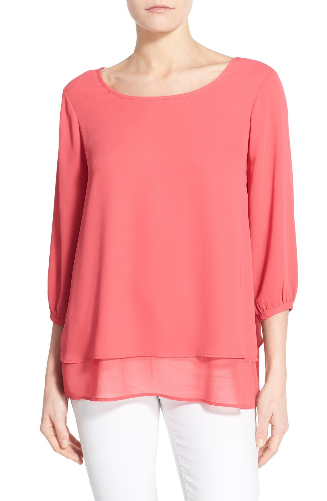 Main Image - Pleione Layered Chiffon Top (Regular & Petite)