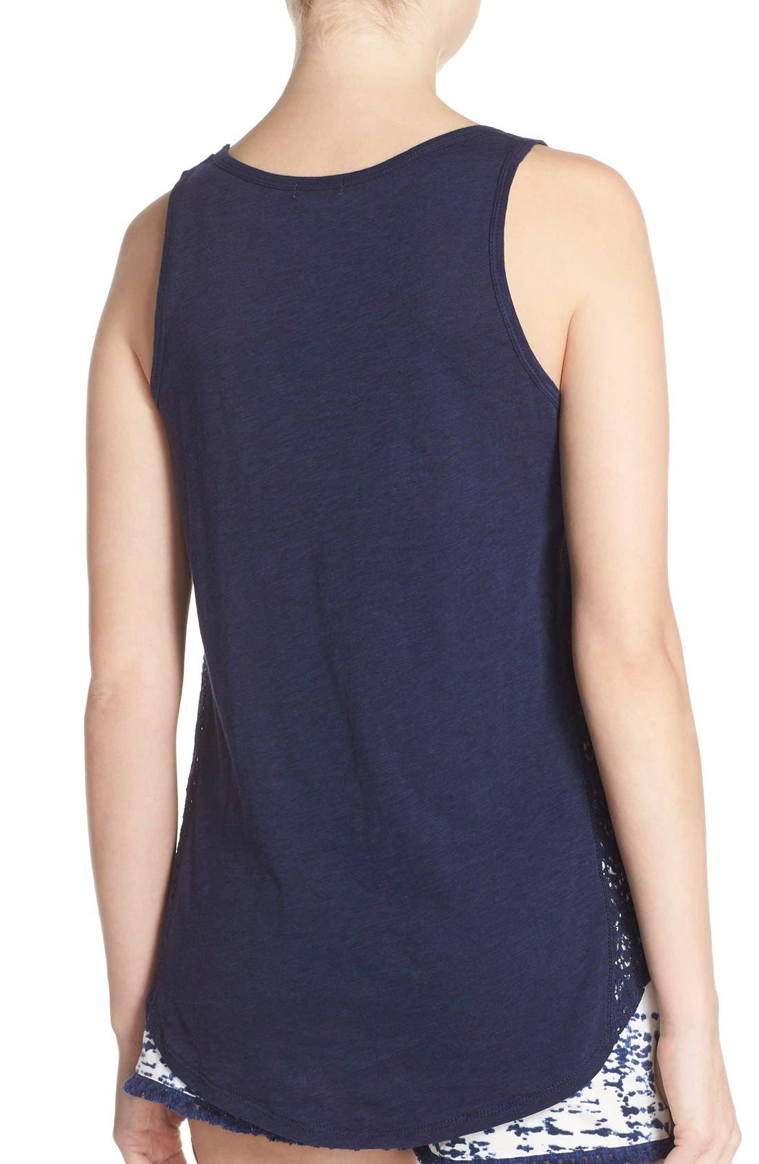 Lace Inset Jersey Tank,                             Alternate thumbnail 2, color,                             Navy