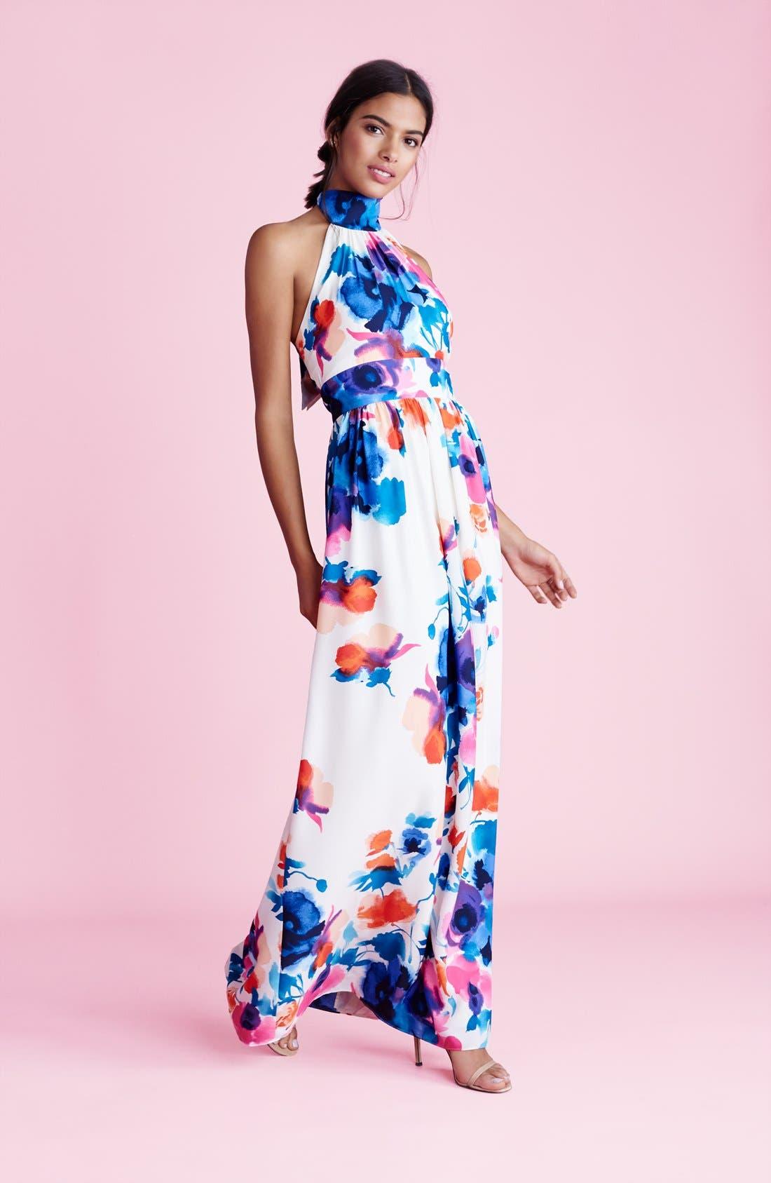 Alternate Image 4  - Eliza J Floral Print Halter Maxi Dress