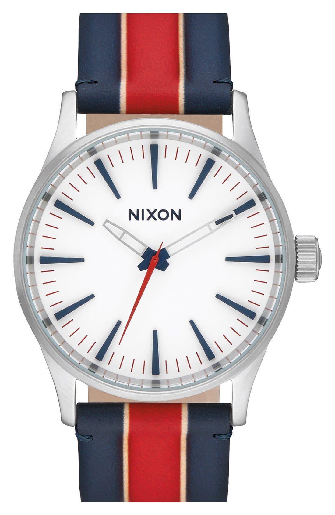 NIXON Sentry Stripe Canvas Strap Watch, 38mm