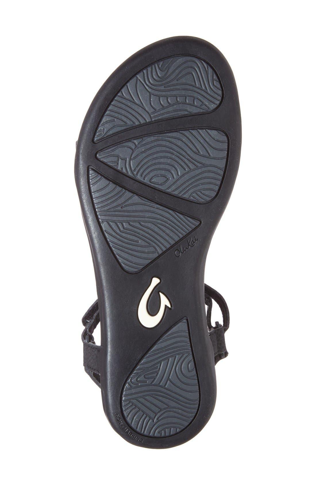 'Luana' Sandal,                             Alternate thumbnail 4, color,                             Black Faux Leather