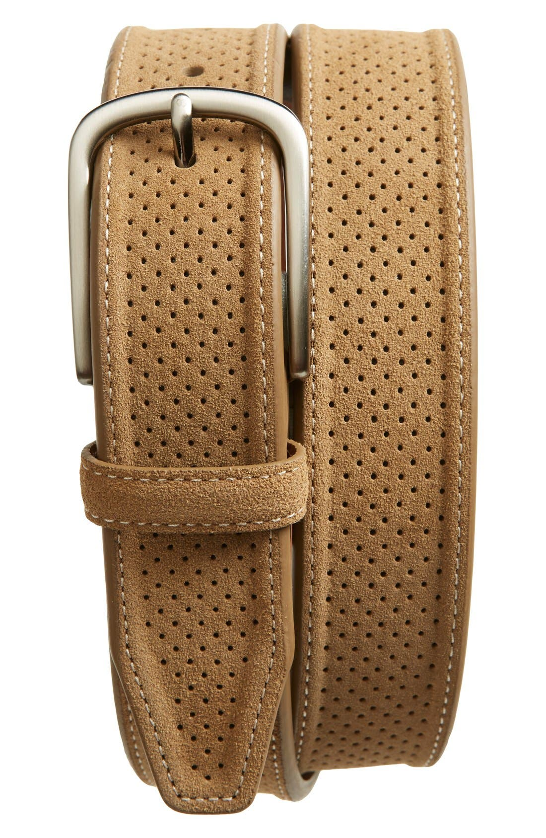 Perforated Suede Belt,                         Main,                         color, Tan