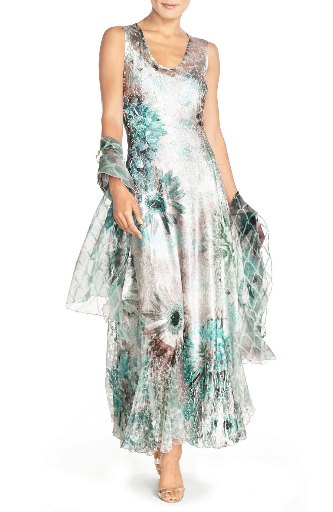 Corset Back Charmeuse Gown with Shawl,                         Main,                         color, Fountain Bloom