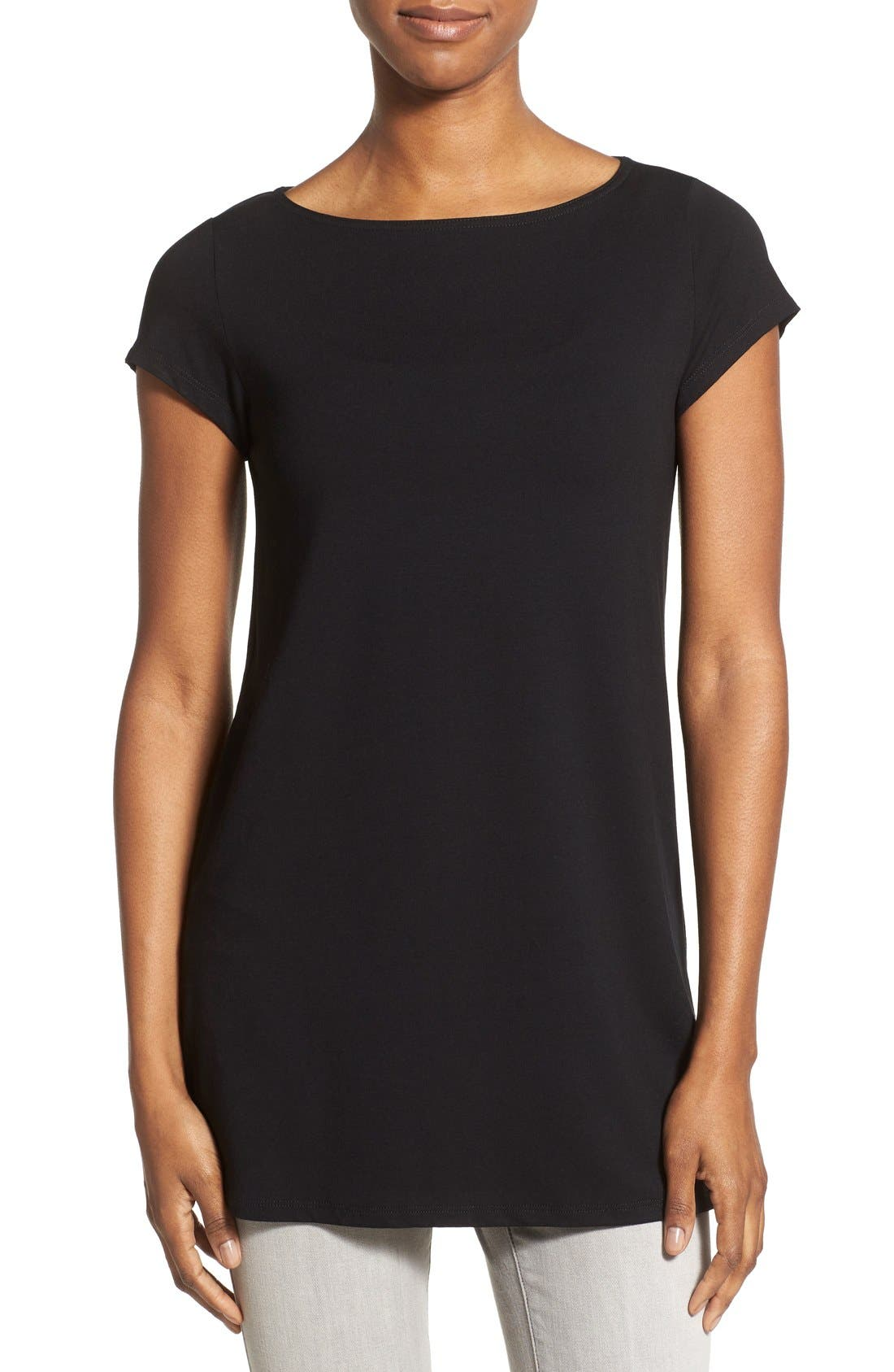 Bateau Neck Tunic Top,                         Main,                         color, Black