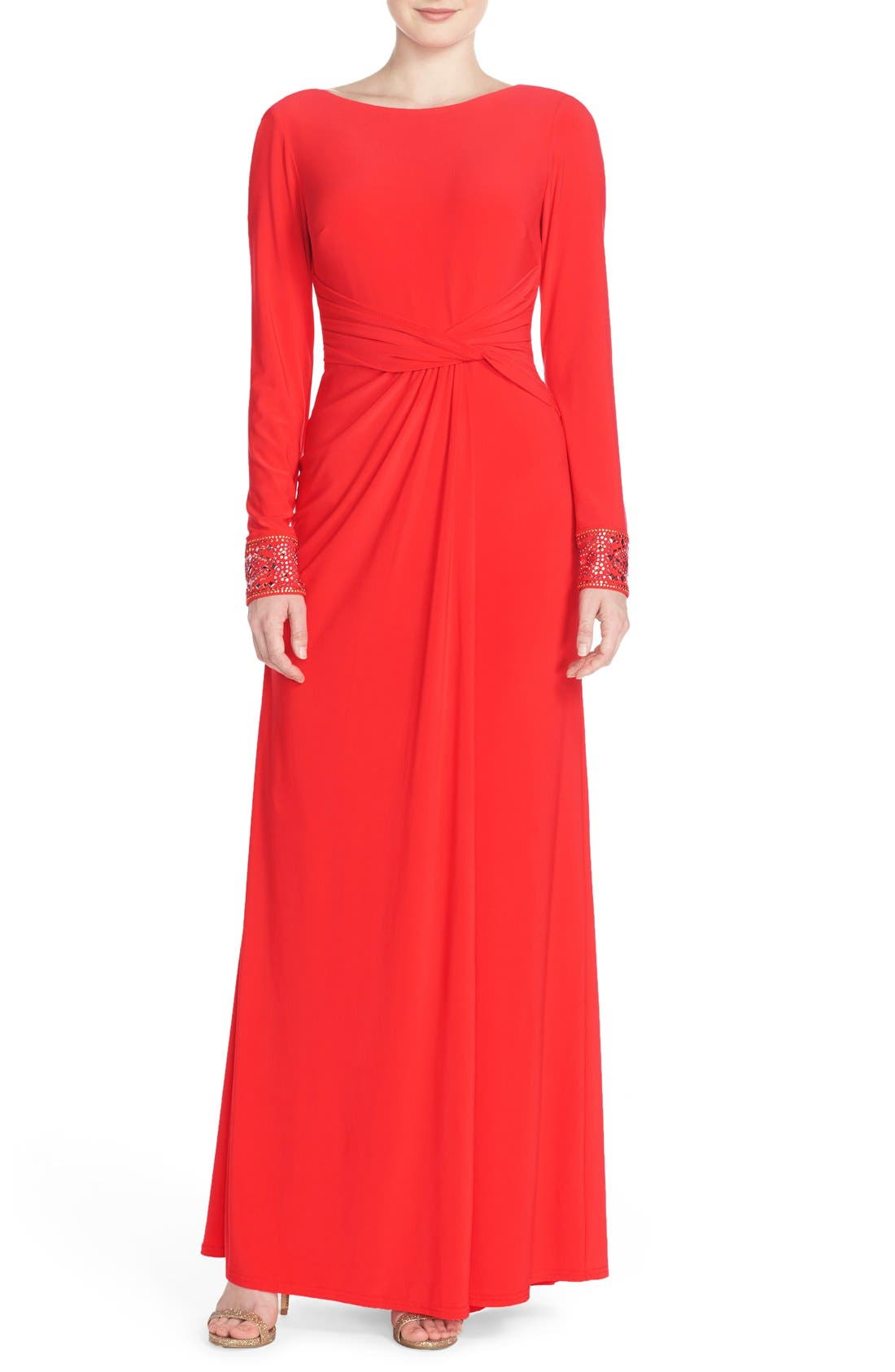 Main Image - Vince Camuto Studded Jersey Fit & Flare Gown