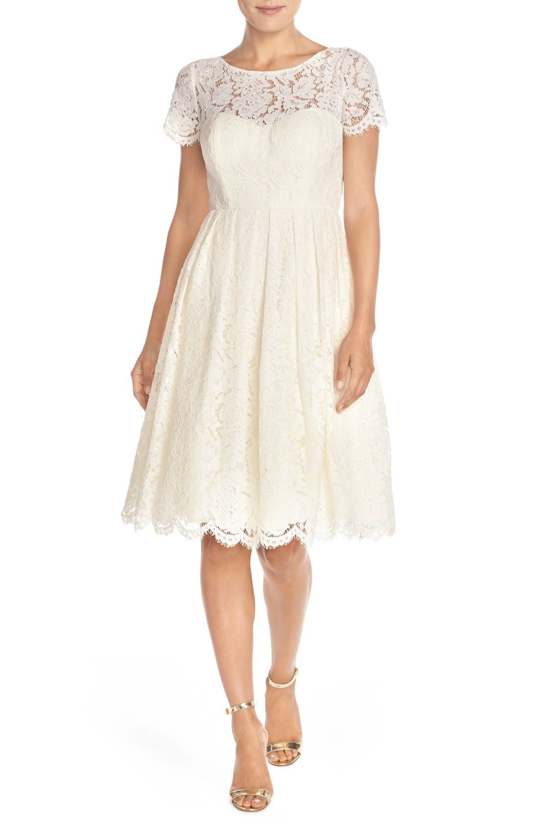 Alternate Image 2  - Jenny Yoo 'Cadence' Keyhole Back Lace Fit & Flare Dress