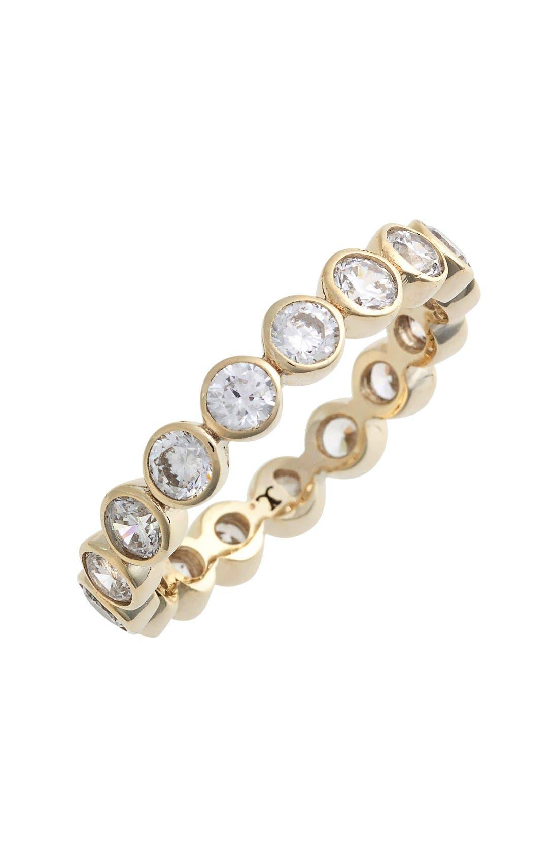 Stackable Cubic Zirconia Bezel Ring,                         Main,                         color, Gold